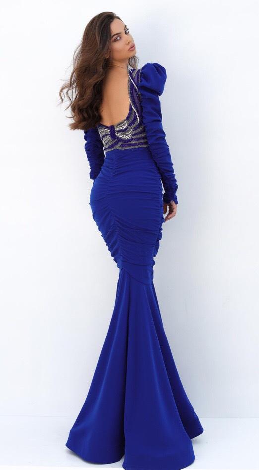 Tarik Ediz Royal Blue Size 8 Long Sleeve Mermaid Dress on Queenly