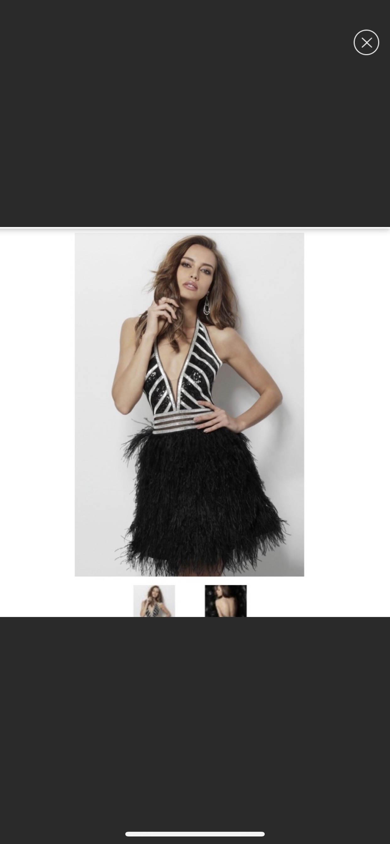 Jovani Black Size 2 Plunge Prom Feather A-line Dress on Queenly