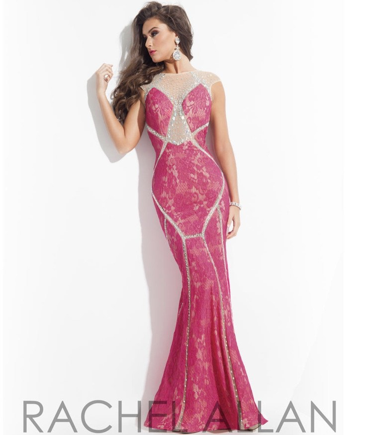 Rachel Allan Pink Size 8 Backless Lace Mermaid Dress on Queenly
