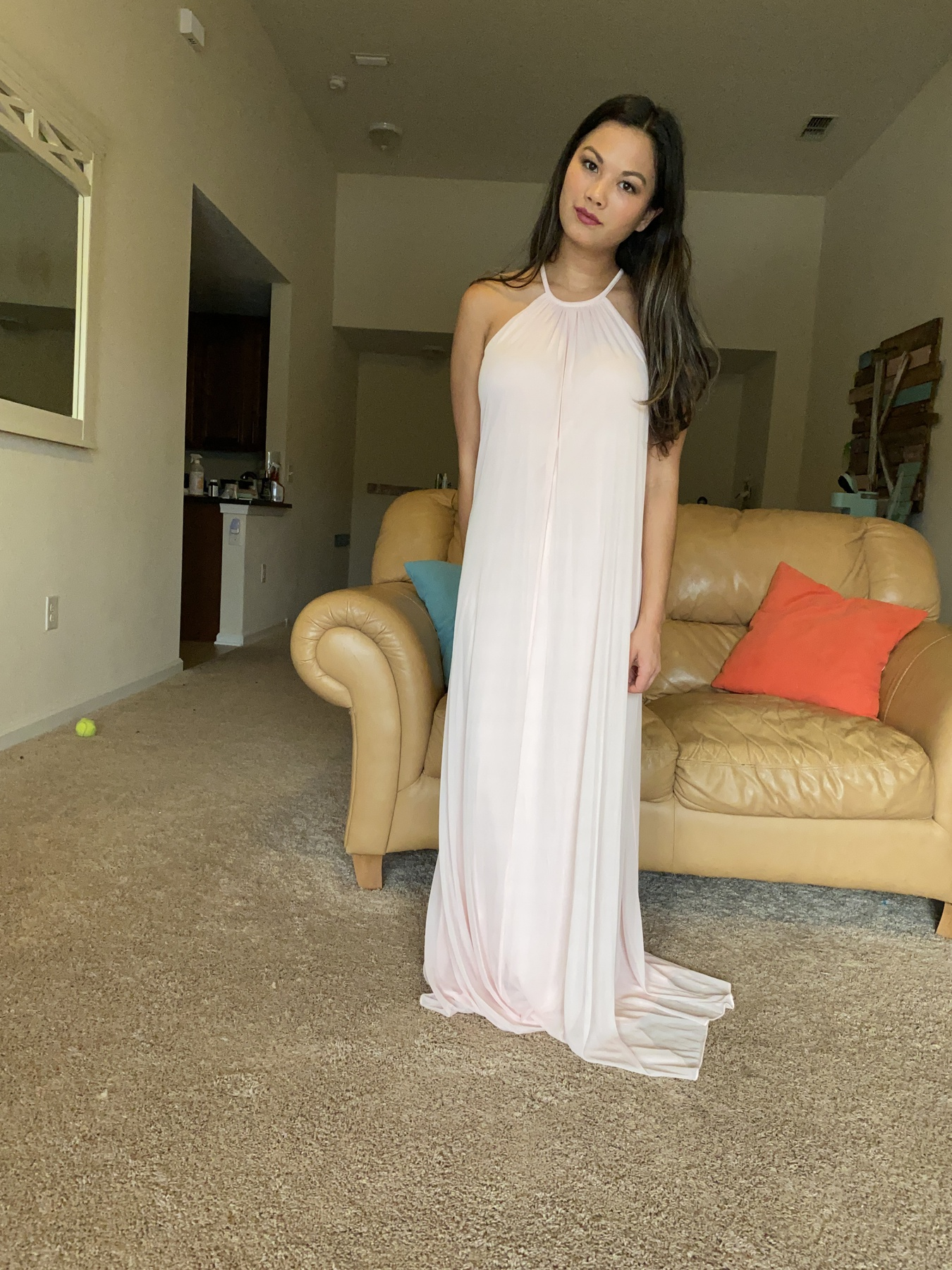 David's Bridal Pink Size 8 Backless Straight Dress on Queenly
