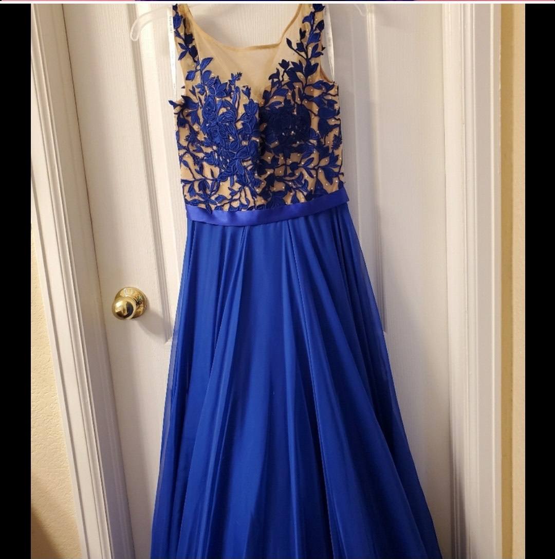 Sherri Hill Blue Size 2 Lace Cap Sleeve A-line Dress on Queenly