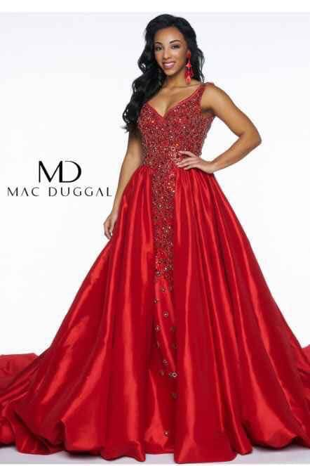 Mac Duggal Red Size 6 Corset Overskirt Plunge Train Dress on Queenly