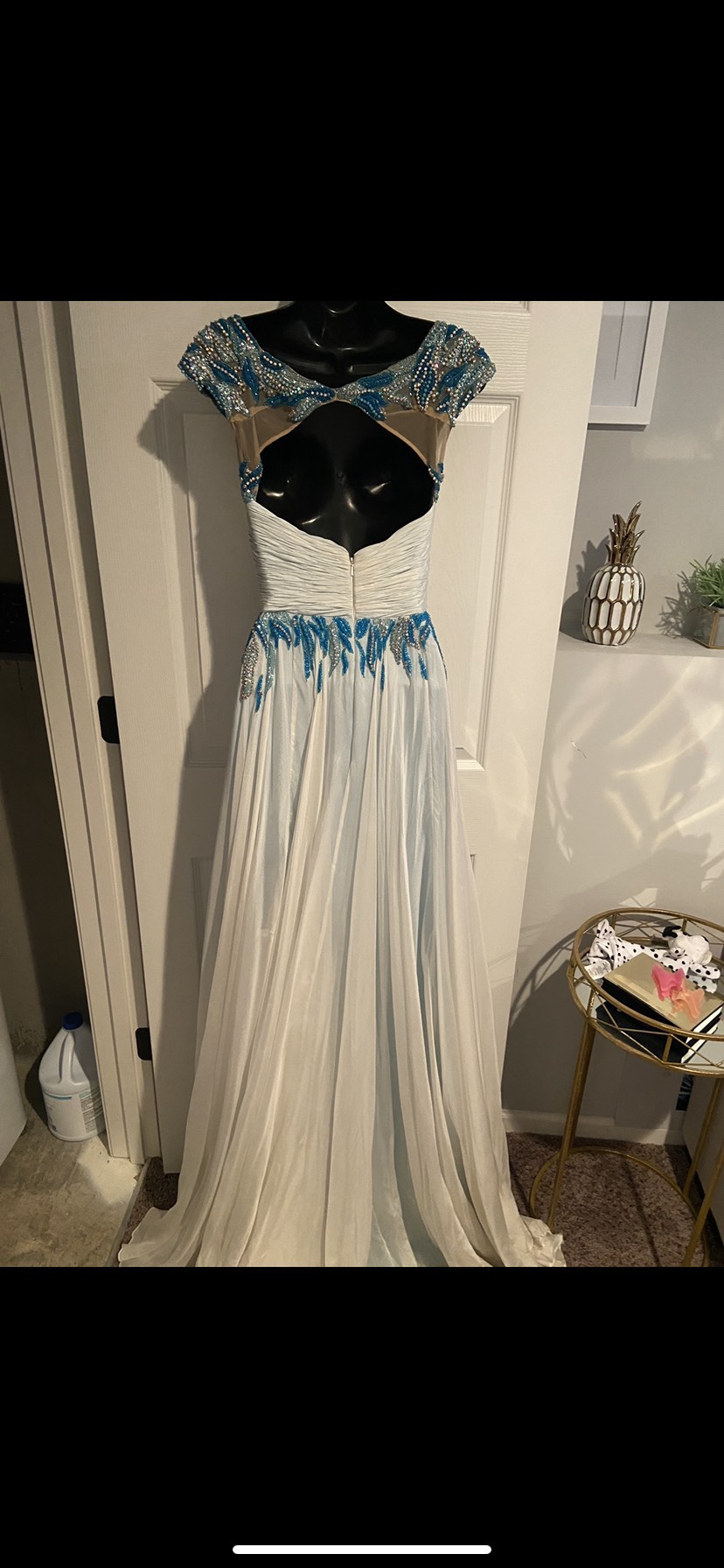 Sherri Hill Blue Size 2 Silk Tulle Straight Dress on Queenly