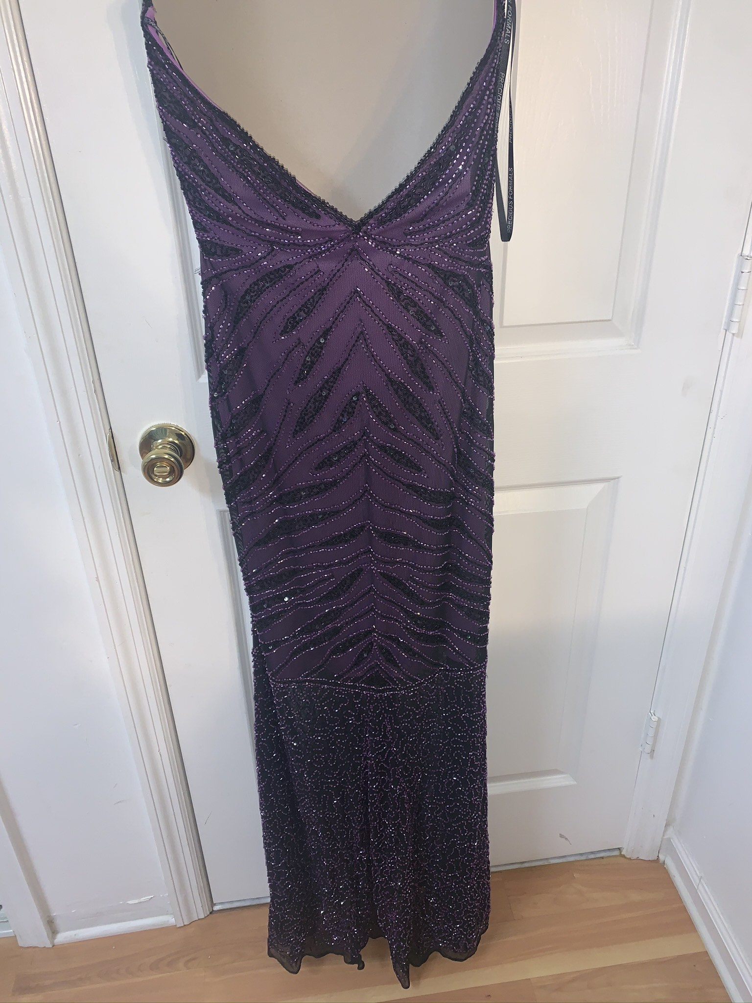 Precious Formals Purple Size 8 Plunge Mermaid Dress on Queenly