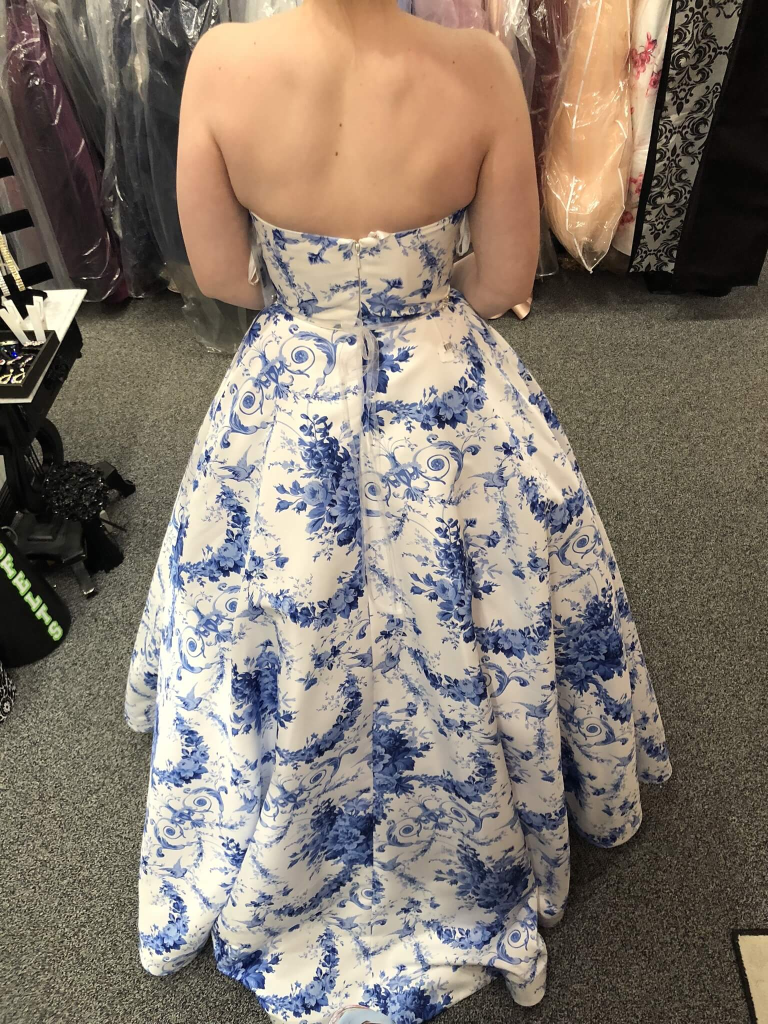 Sherri Hill Blue Size 2 Floral Pockets Strapless Prom Ball gown on Queenly