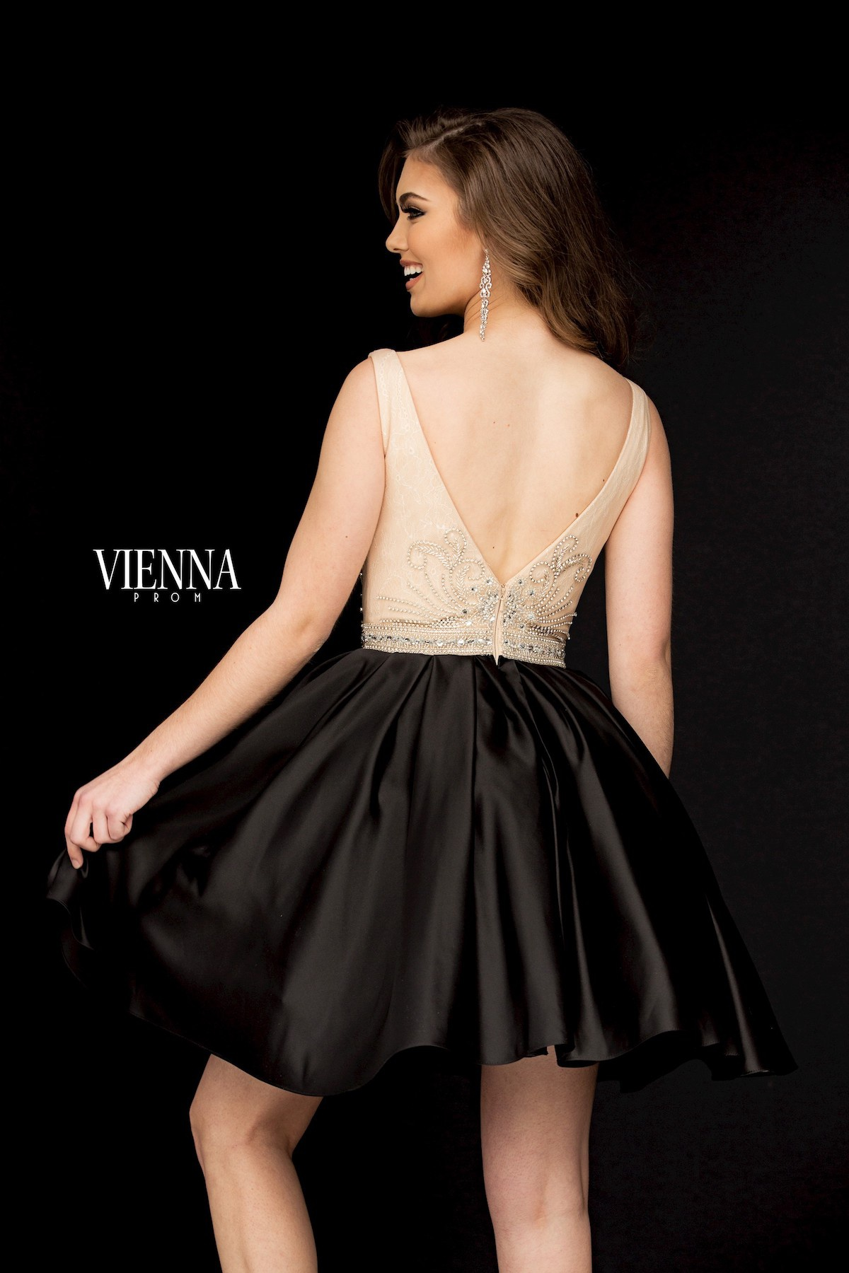 Style 6019 Vienna Black Size 20 Backless Tall Height Cocktail Dress on Queenly