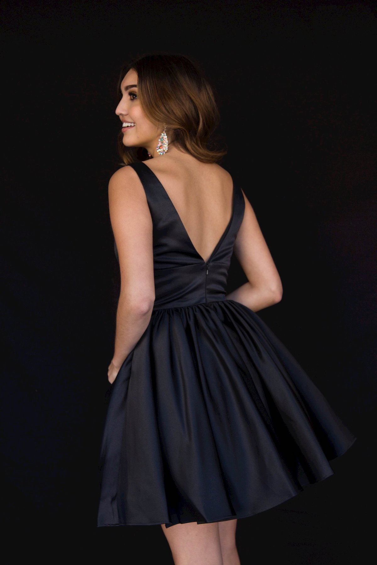 Style 6023 Vienna Black Size 20 Backless Tall Height Cocktail Dress on Queenly