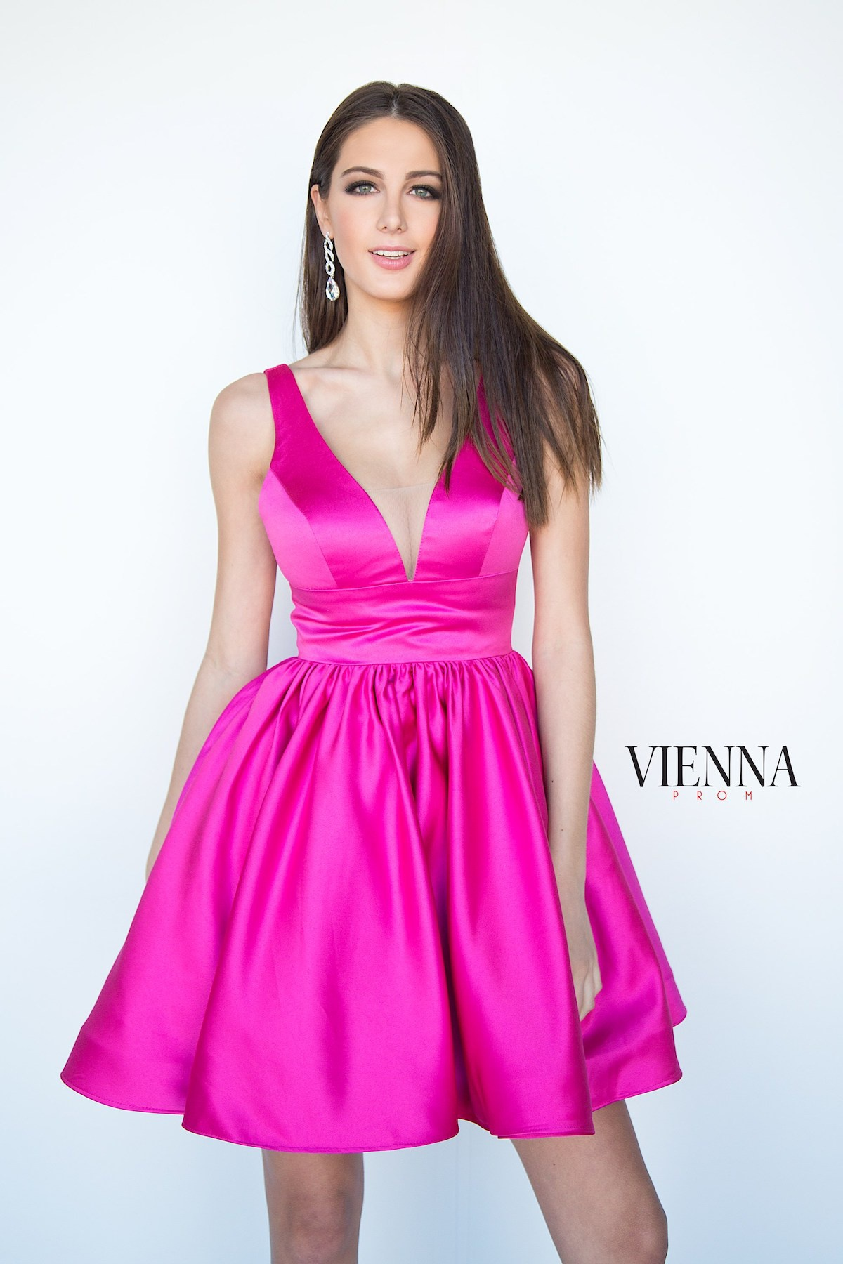 Style 6023 Vienna Pink Size 0 Plunge Silk Cocktail Dress on Queenly