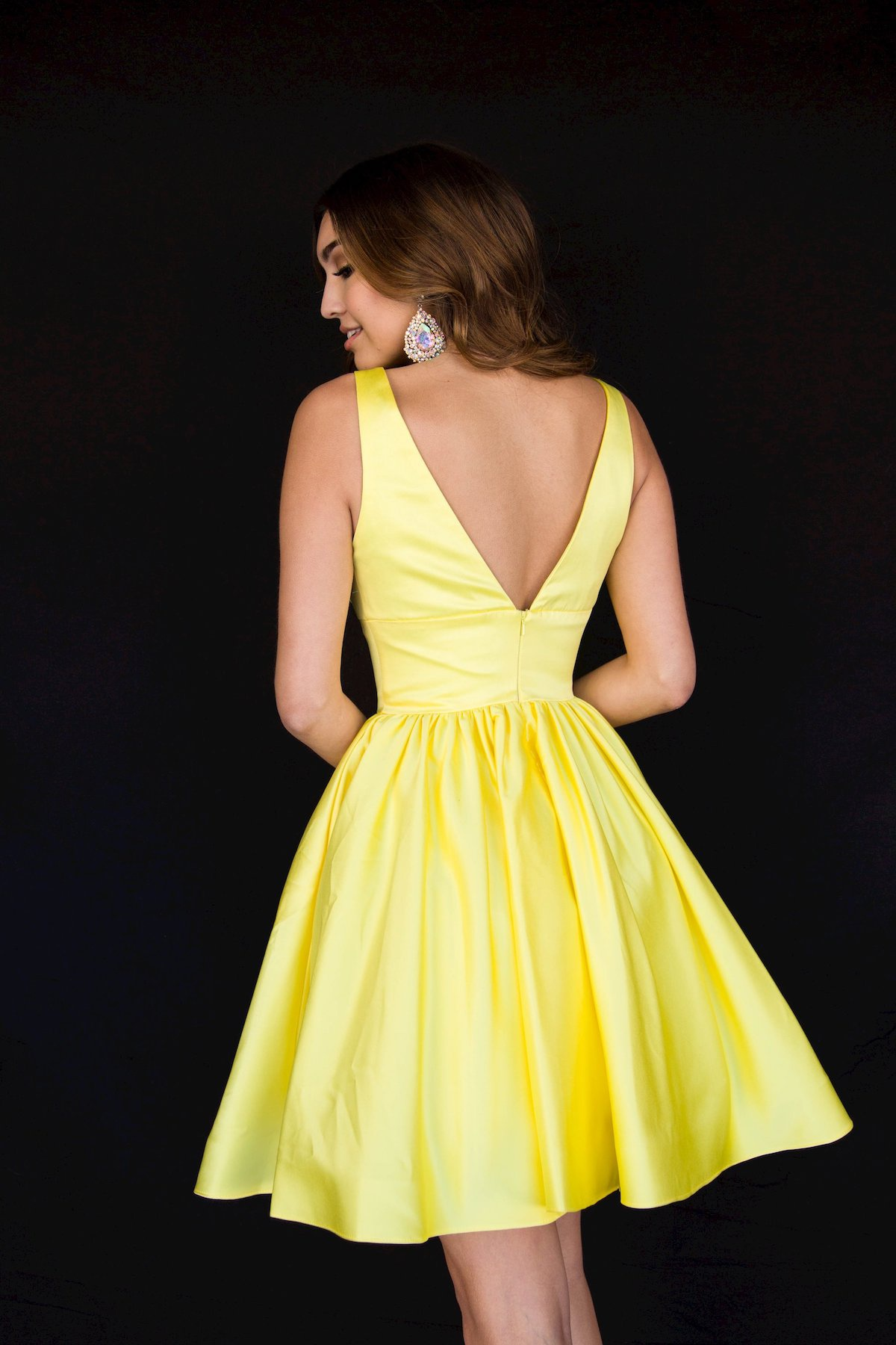 Style 6023 Vienna Yellow Size 18 Backless Plus Size Tall Height Cocktail Dress on Queenly