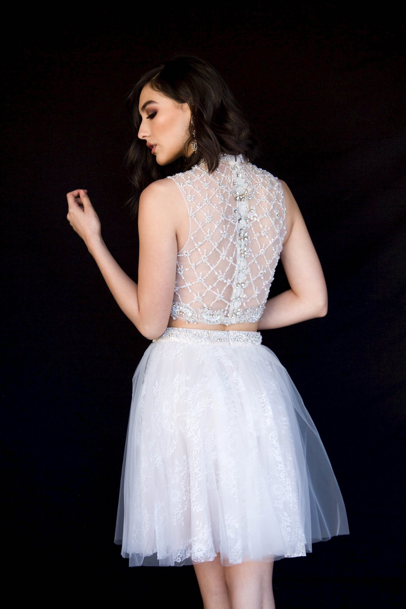 Style 6051 Vienna White Size 10 Tall Height Sheer Cocktail Dress on Queenly