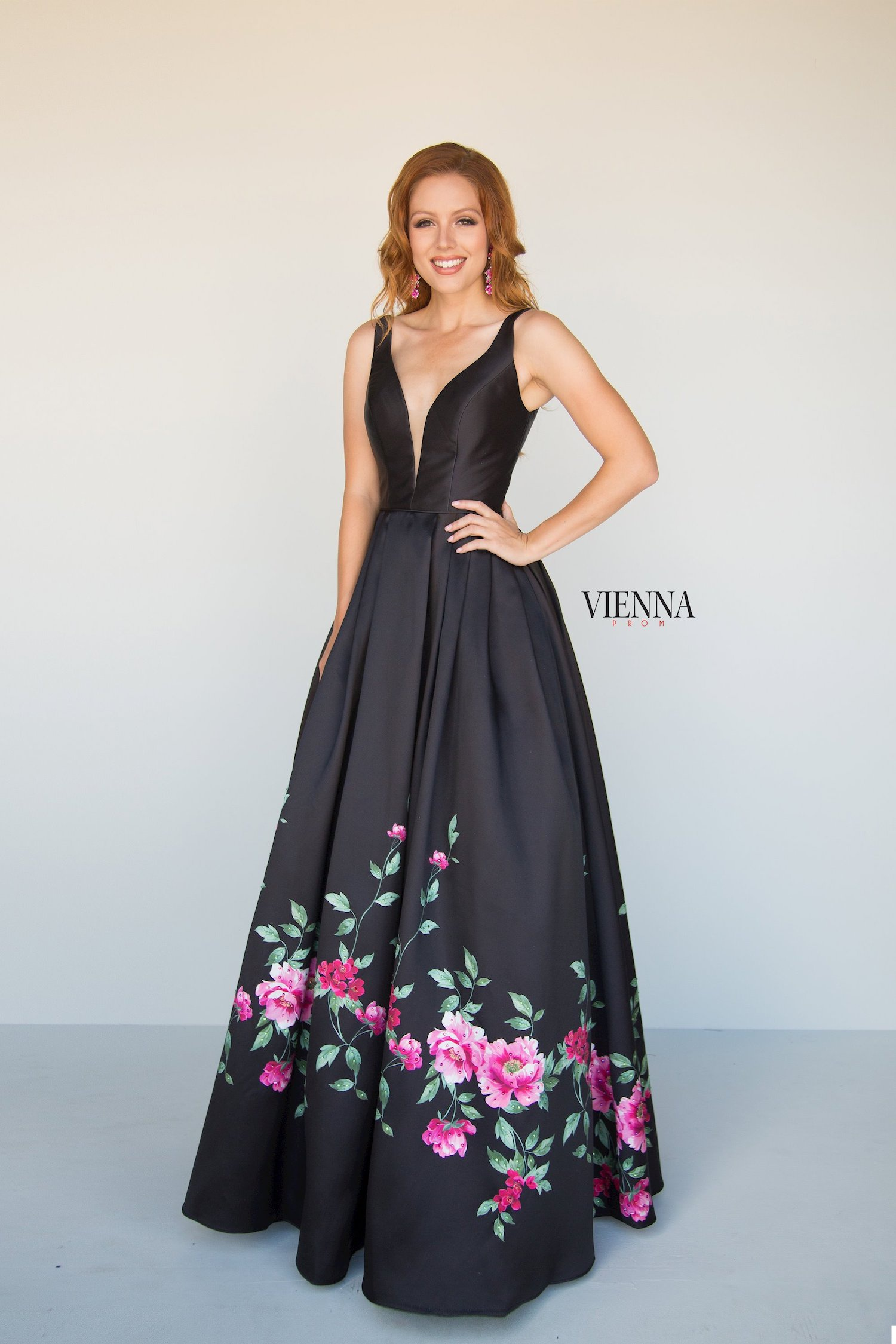 Style 7810 Vienna Black Size 00 Floral Pageant Backless Tall Height A-line Dress on Queenly