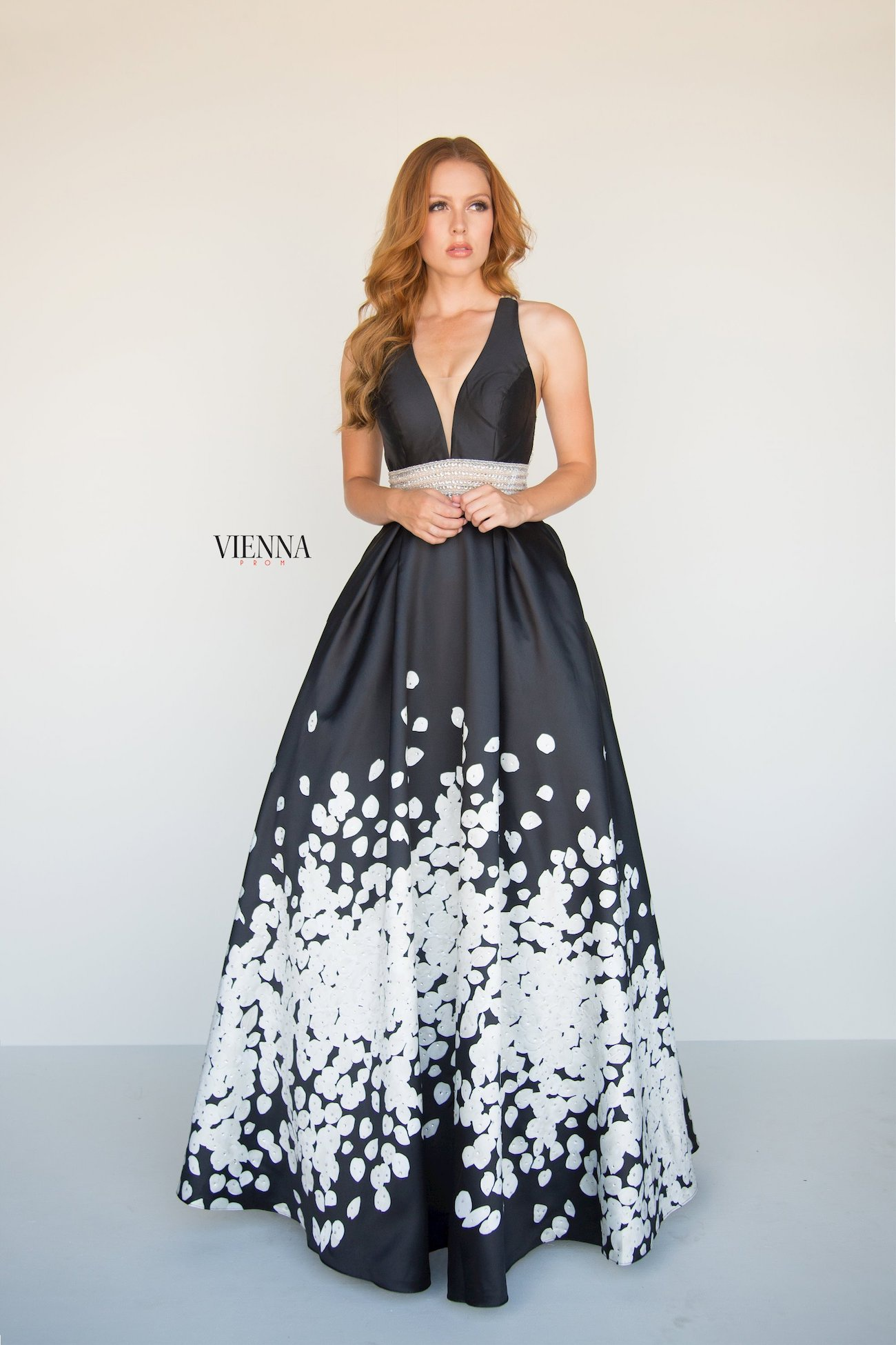 Style 7811 Vienna Black Size 00 White Belt Backless Tall Height A-line Dress on Queenly