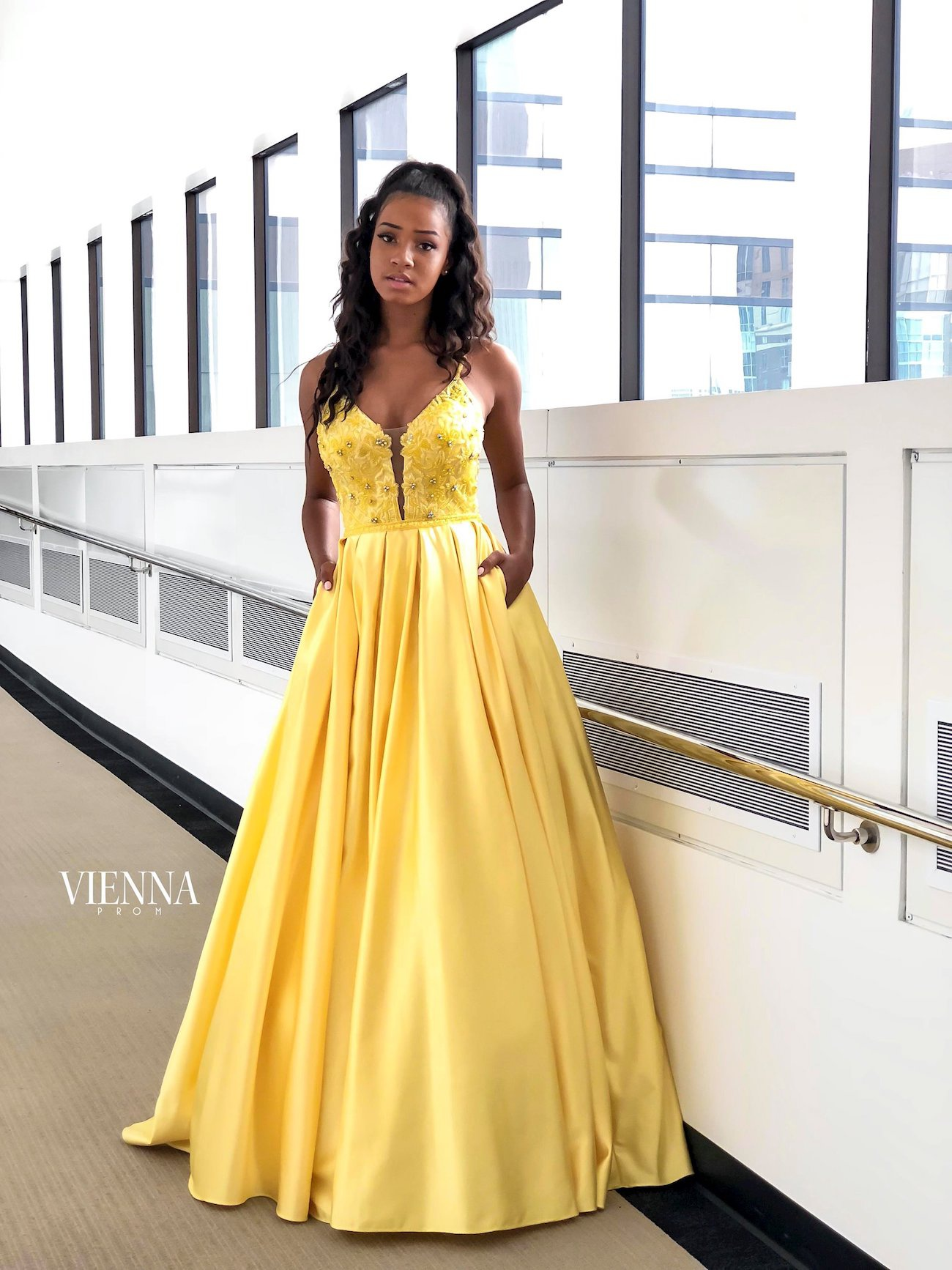 Style 7822 Vienna Yellow Size 4 Pageant Backless Tall Height Ball gown on Queenly
