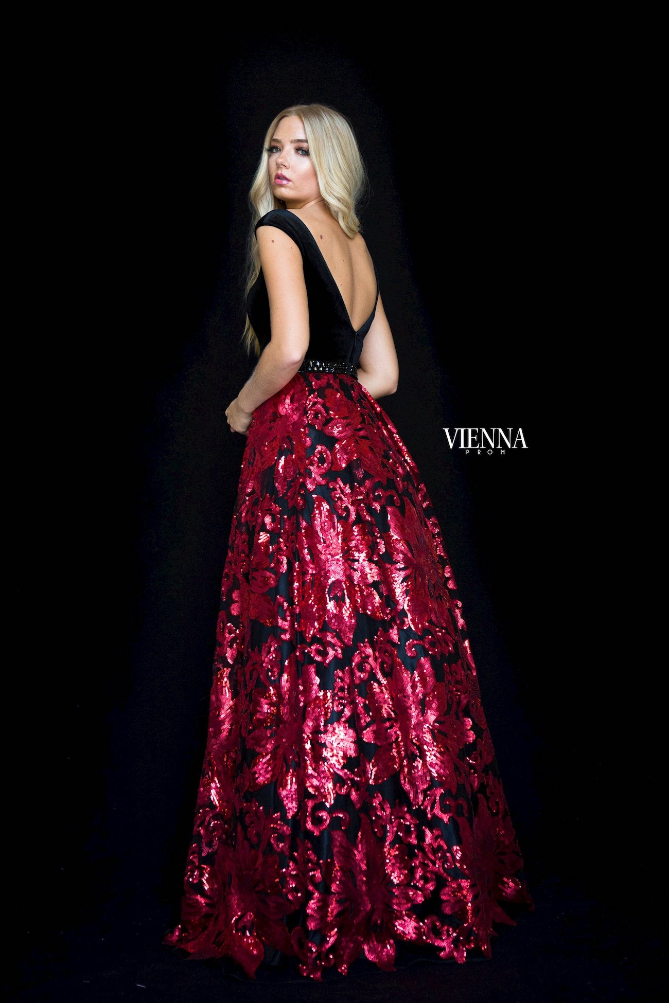 Style 7824 Vienna Red Size 10 Belt Backless Tall Height A-line Dress on Queenly