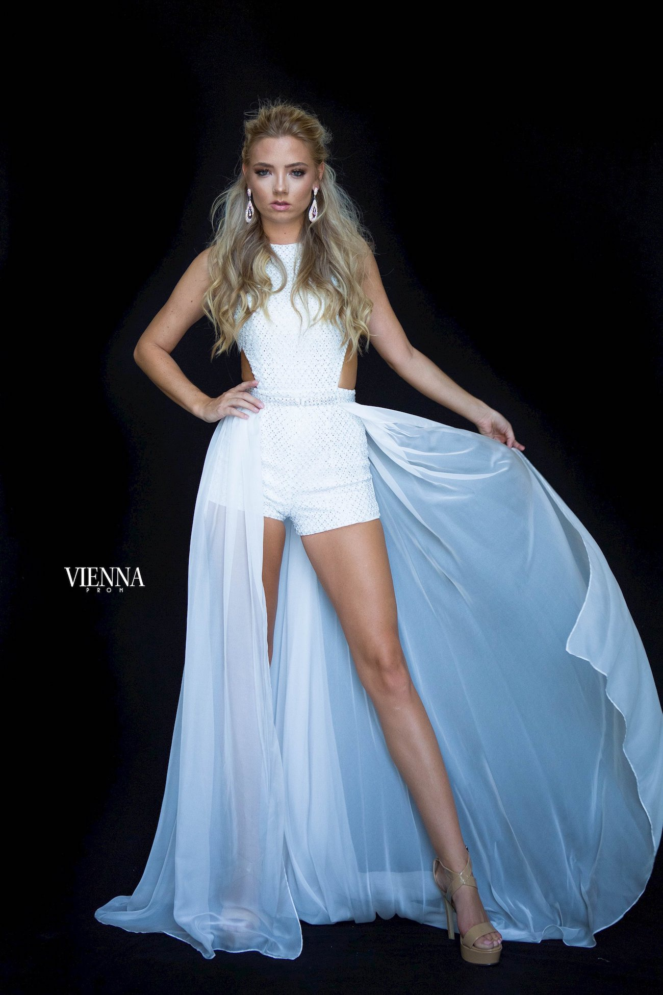Style 8606 Vienna White Size 6 Pageant Overskirt Romper/Jumpsuit Dress on Queenly