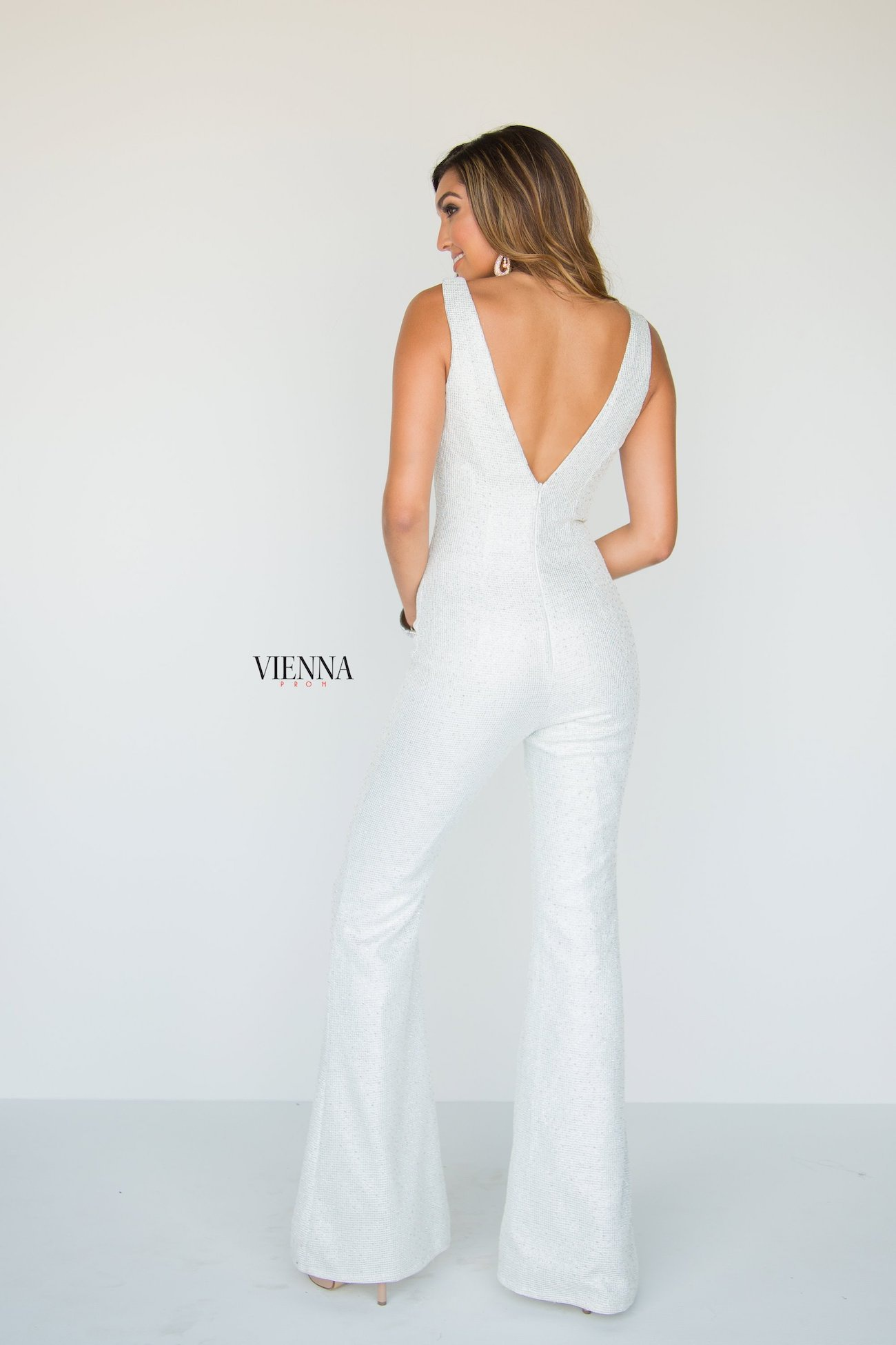 Style 8702 Vienna White Size 6 Fun Fashion Plunge Interview Shiny Romper/Jumpsuit Dress on Queenly