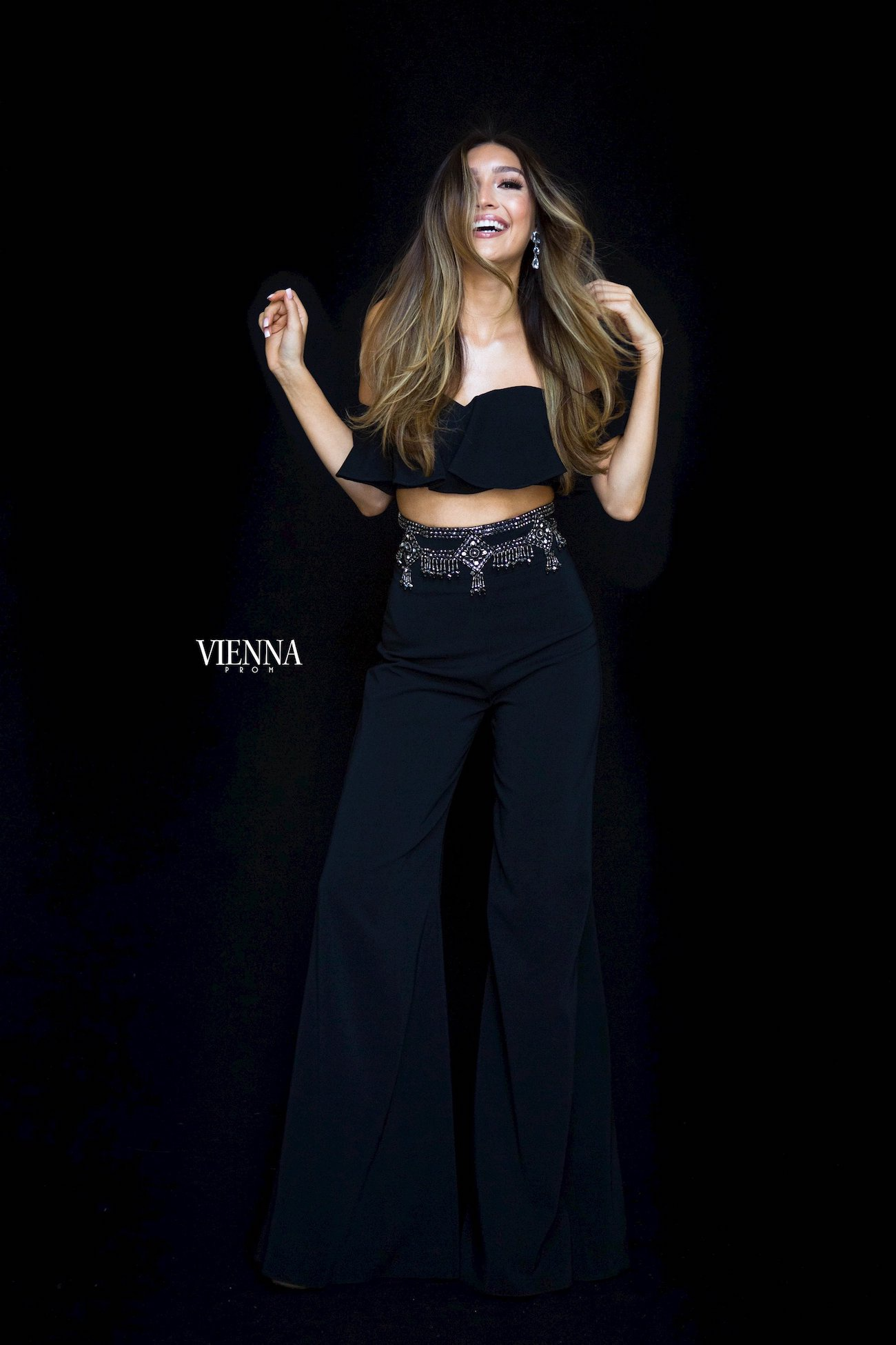 Style 8703 Vienna Black Size 00 Ruffles Jewelled Tall Height Romper/Jumpsuit Dress on Queenly