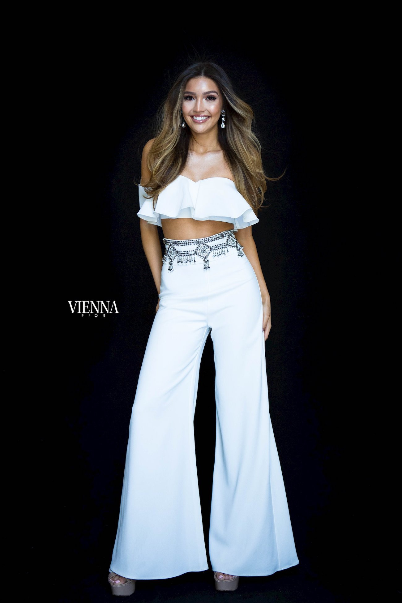 Style 8703 Vienna White Size 6 Jumpsuit Fun Fashion Two Piece Romper/Jumpsuit Dress on Queenly
