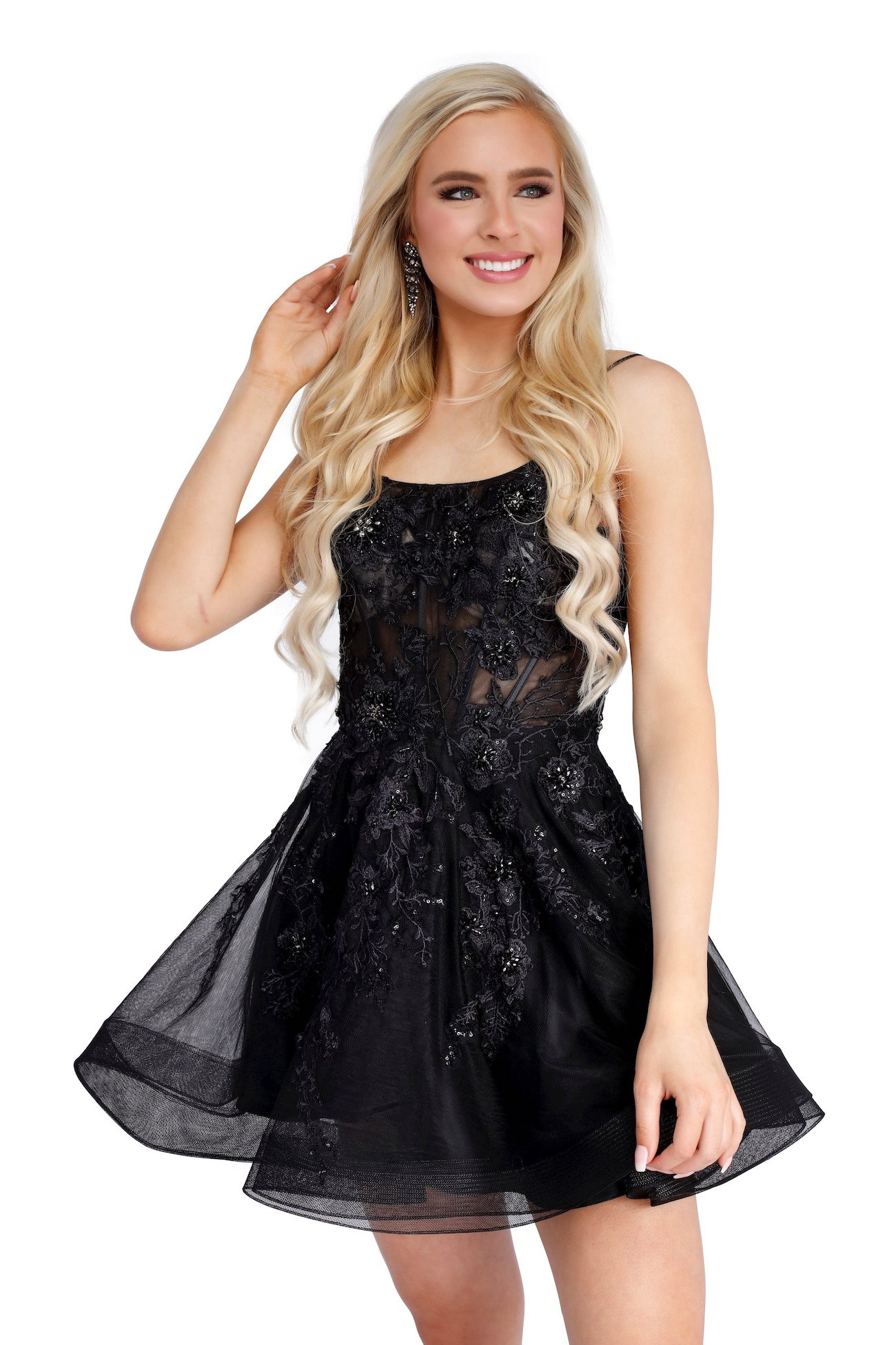 Style 65003 Vienna Black Size 4 Mini Sheer Lace Cocktail Dress on Queenly