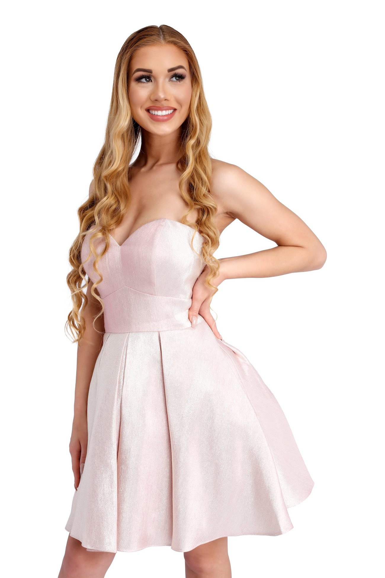 Style 65006 Vienna Light Pink Size 2 Strapless Mini Cocktail Dress on Queenly