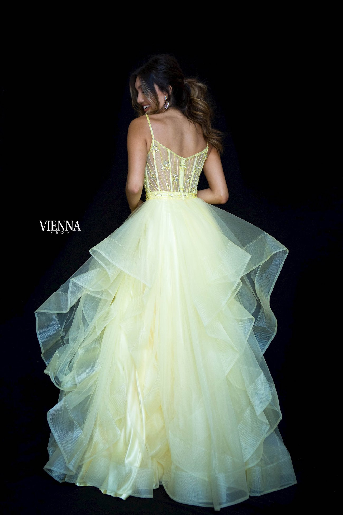 Style 7836 Vienna Yellow Size 0 Tulle Backless Sheer Ball gown on Queenly