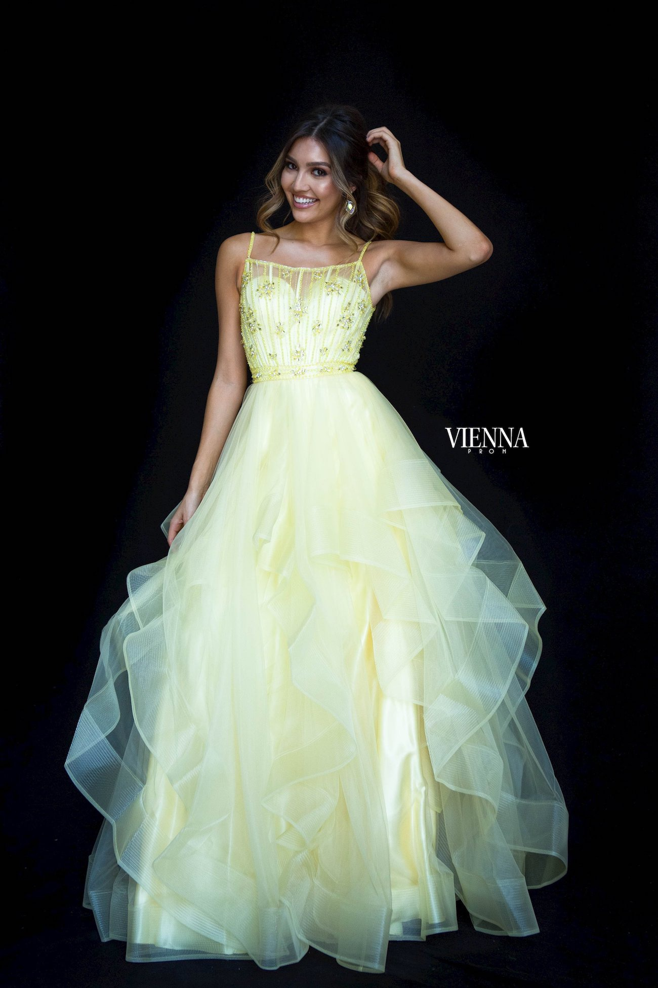 Style 7836 Vienna Yellow Size 6 Tulle Backless Tall Height Sheer Ball gown on Queenly