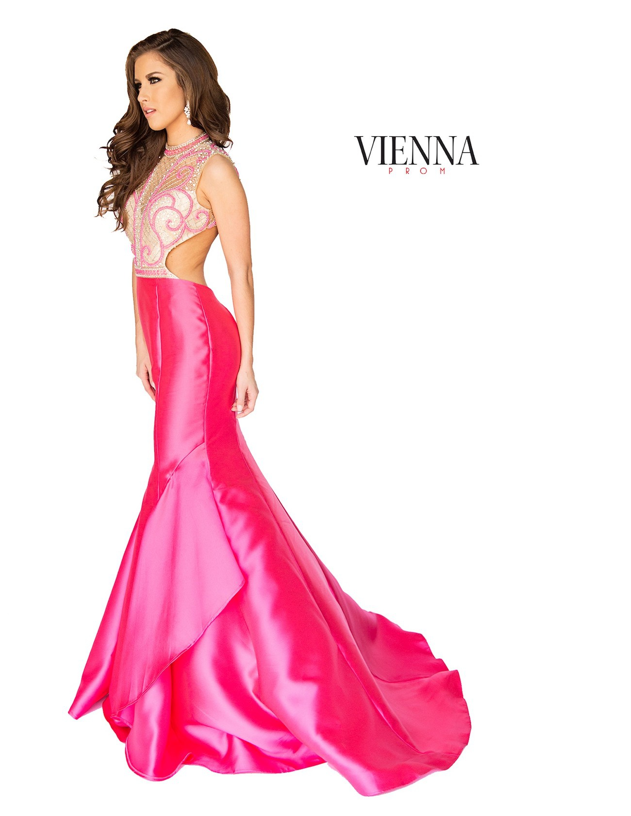 Style 8255 Vienna Hot Pink Size 8 Sheer Mermaid Dress on Queenly