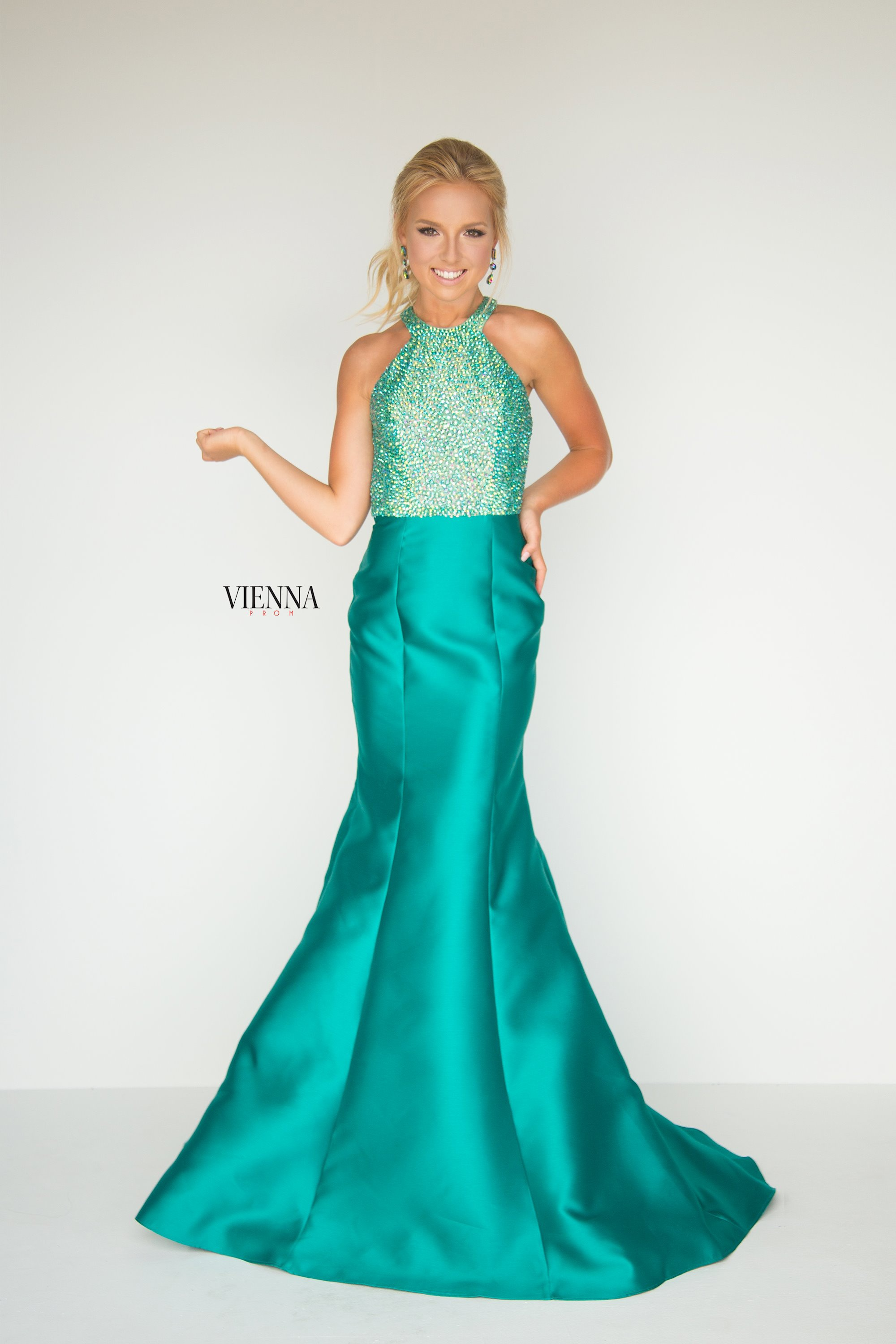 Style 8281 Vienna Green Size 18 Halter Backless Tall Height Mermaid Dress on Queenly