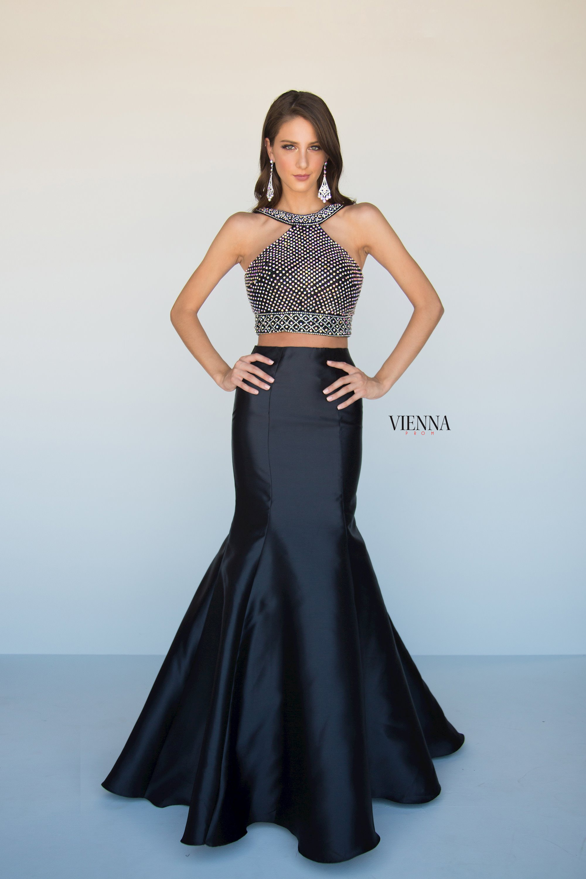 Style 8289 Vienna Black Size 00 Jewelled Halter Backless Tall Height Mermaid Dress on Queenly