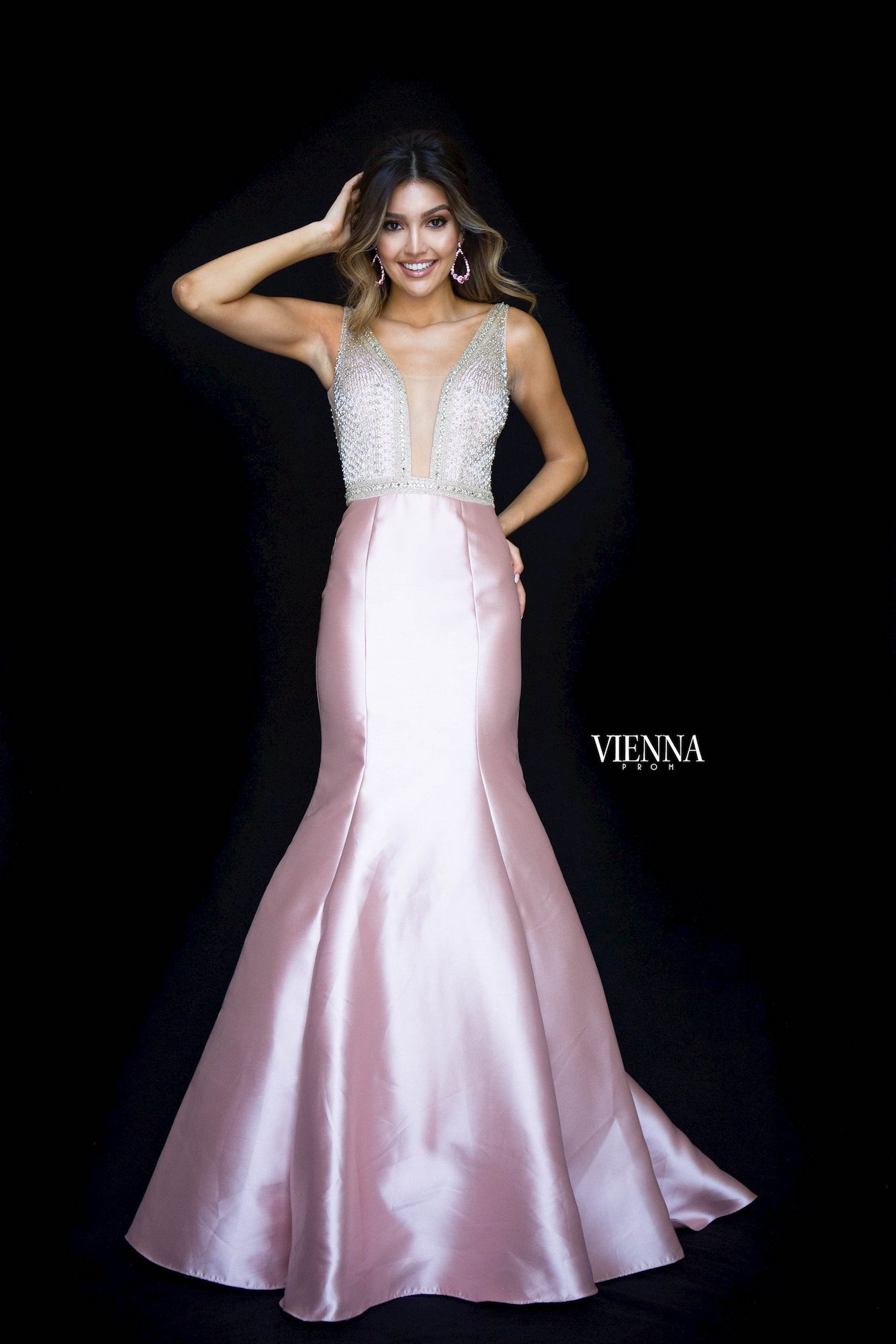 Style 8295 Vienna Pink Size 10 Pageant Backless Tall Height Mermaid Dress on Queenly