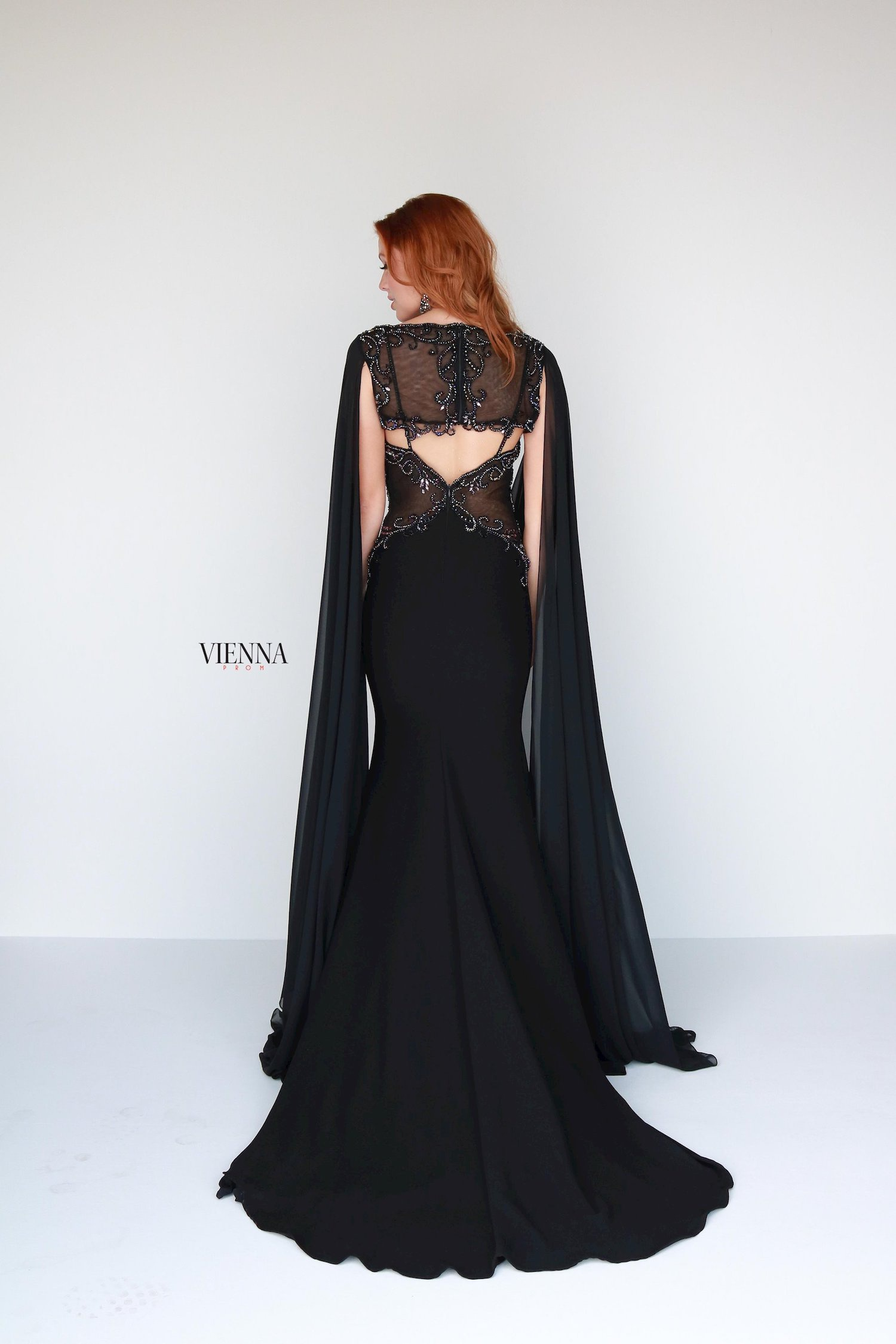 Style 9933 Vienna Black Size 00 Jewelled Pageant Backless Tall Height Straight Dress on Queenly