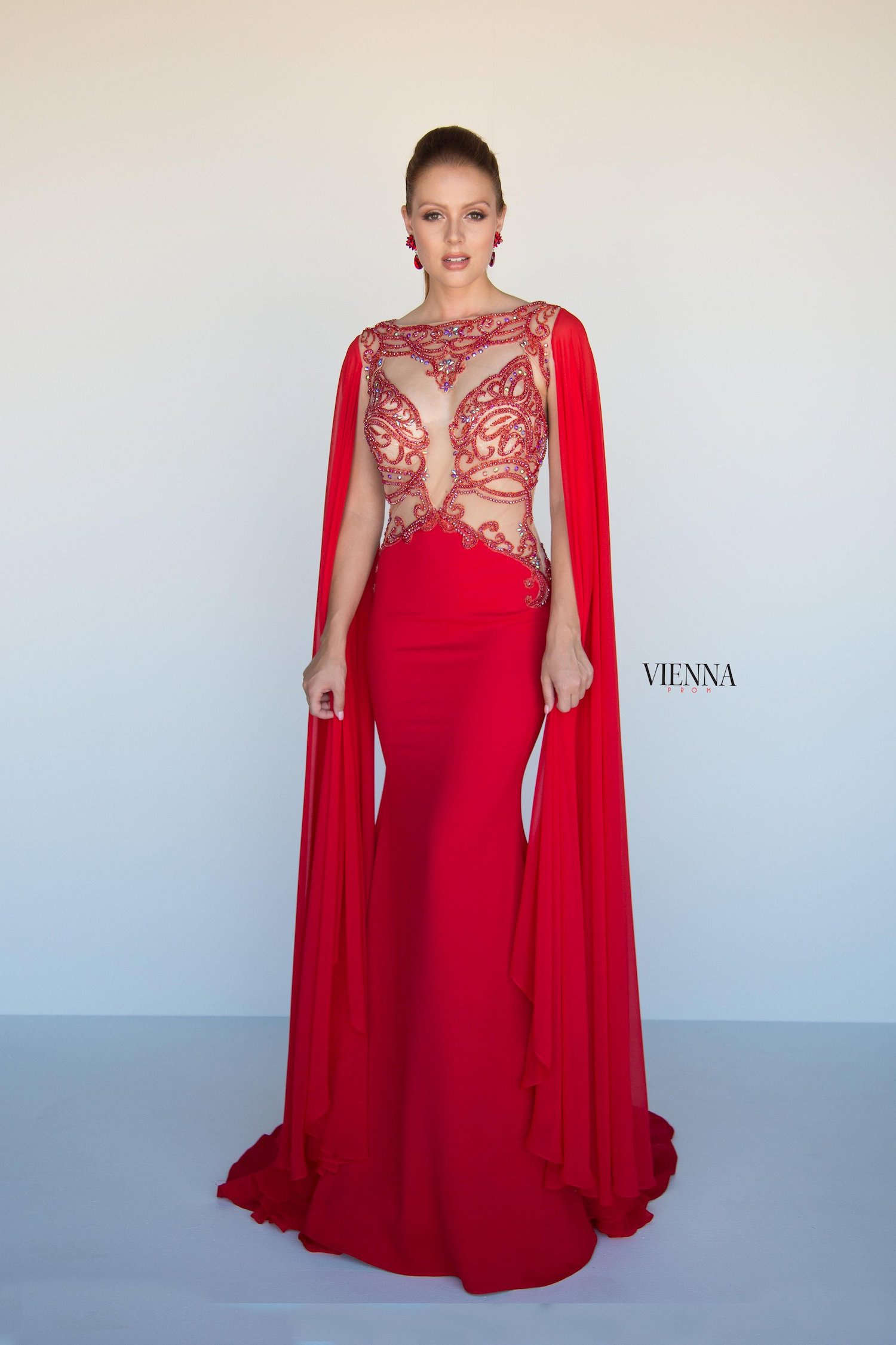 Style 9933 Vienna Red Size 6 Prom Cape Plunge Straight Dress on Queenly
