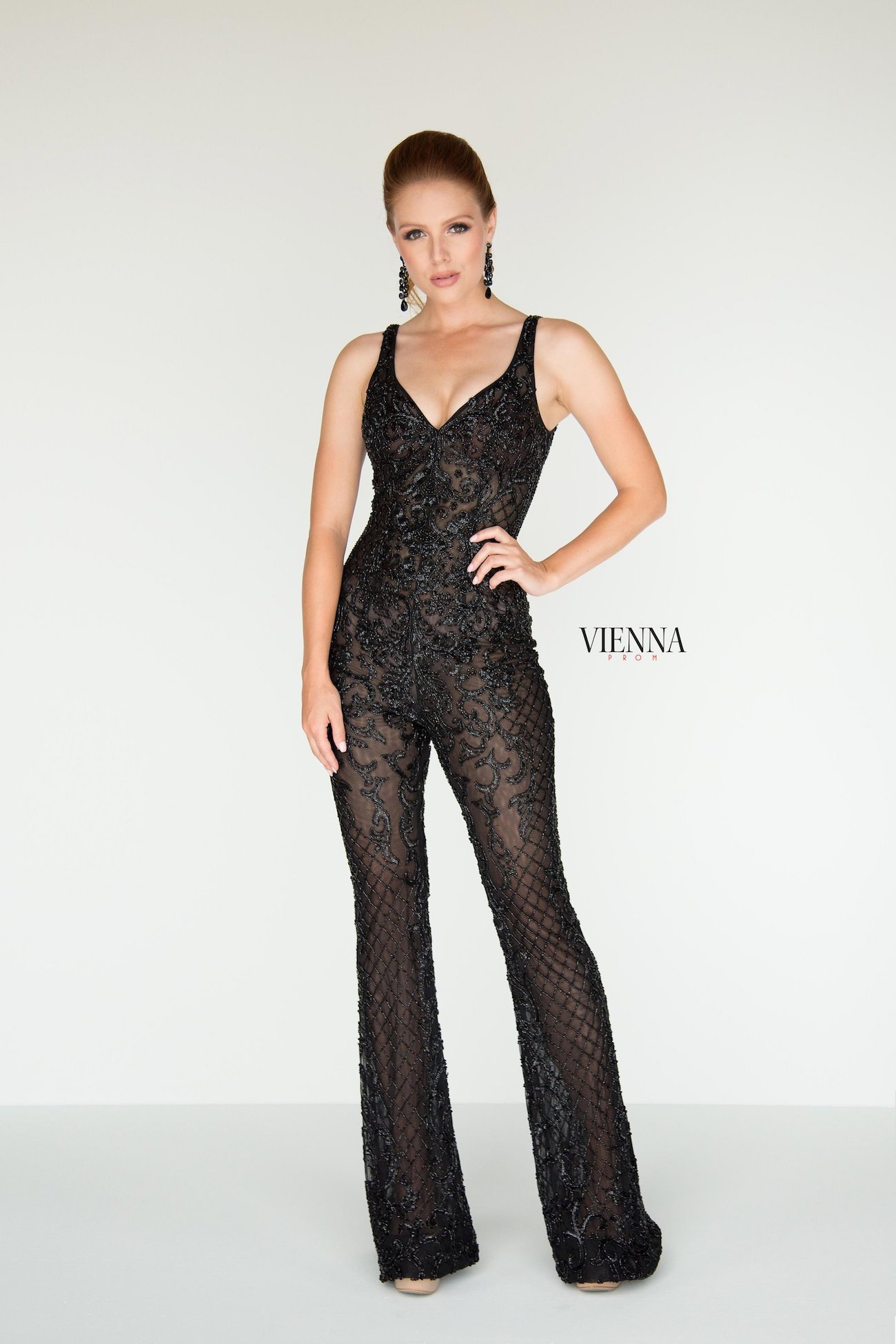 Style 9935 Vienna Black Size 00 Pageant Backless Tall Height Lace Romper/Jumpsuit Dress on Queenly