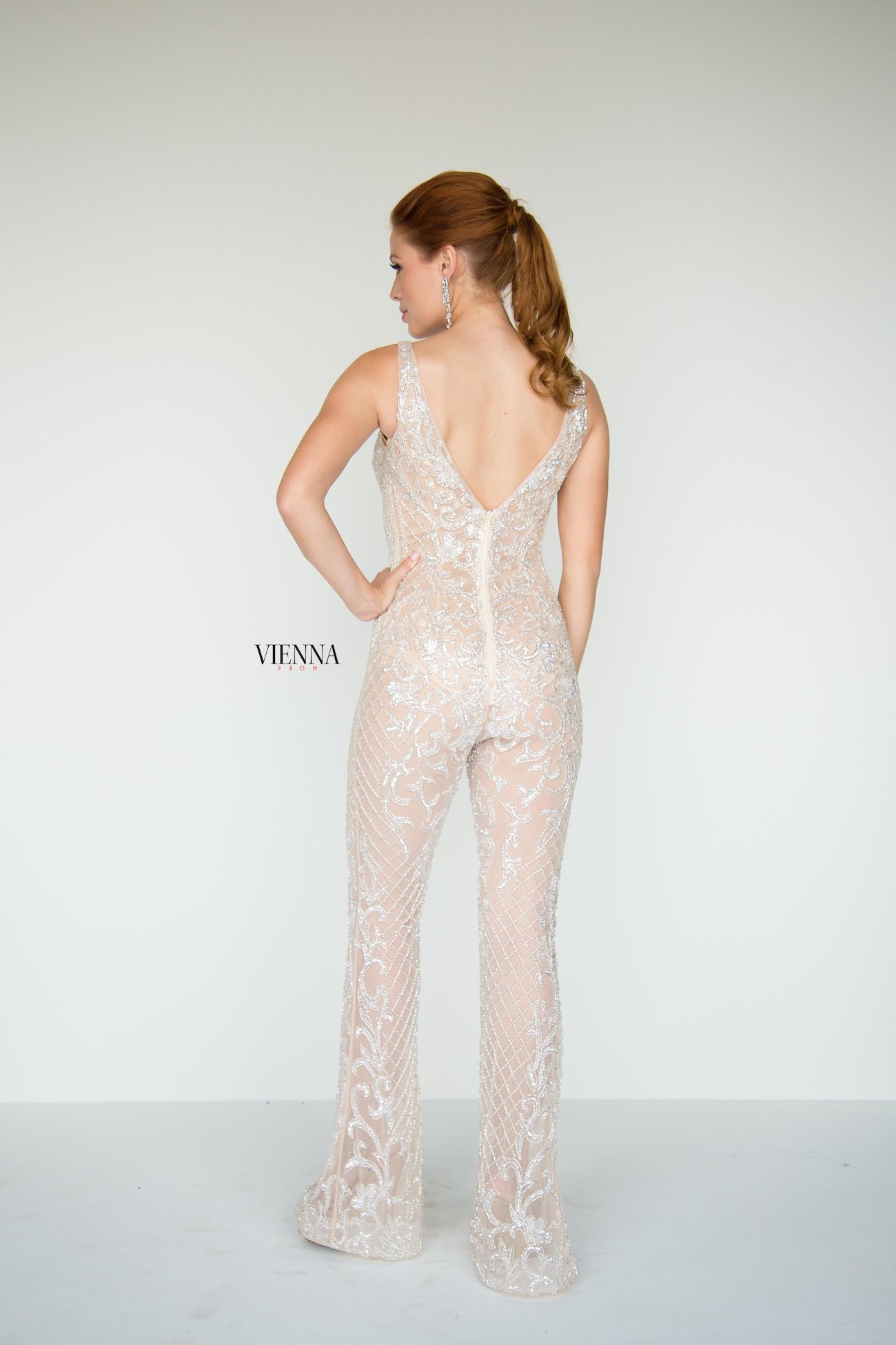 Style 9935 Vienna White Size 6 Fun Fashion Plunge Lace Shiny Romper/Jumpsuit Dress on Queenly