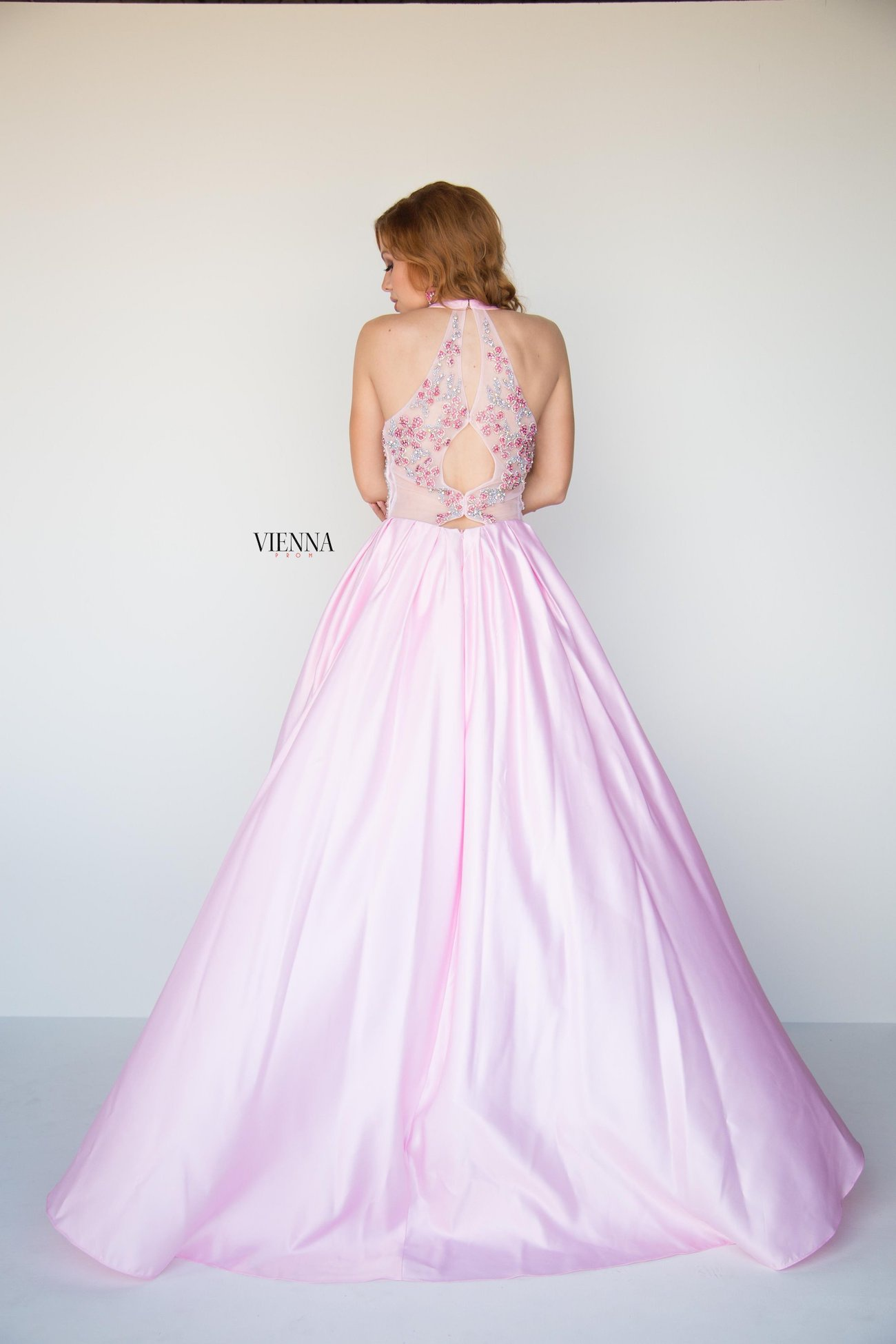 Style 9942 Vienna Light Pink Size 2 Halter A-line Dress on Queenly