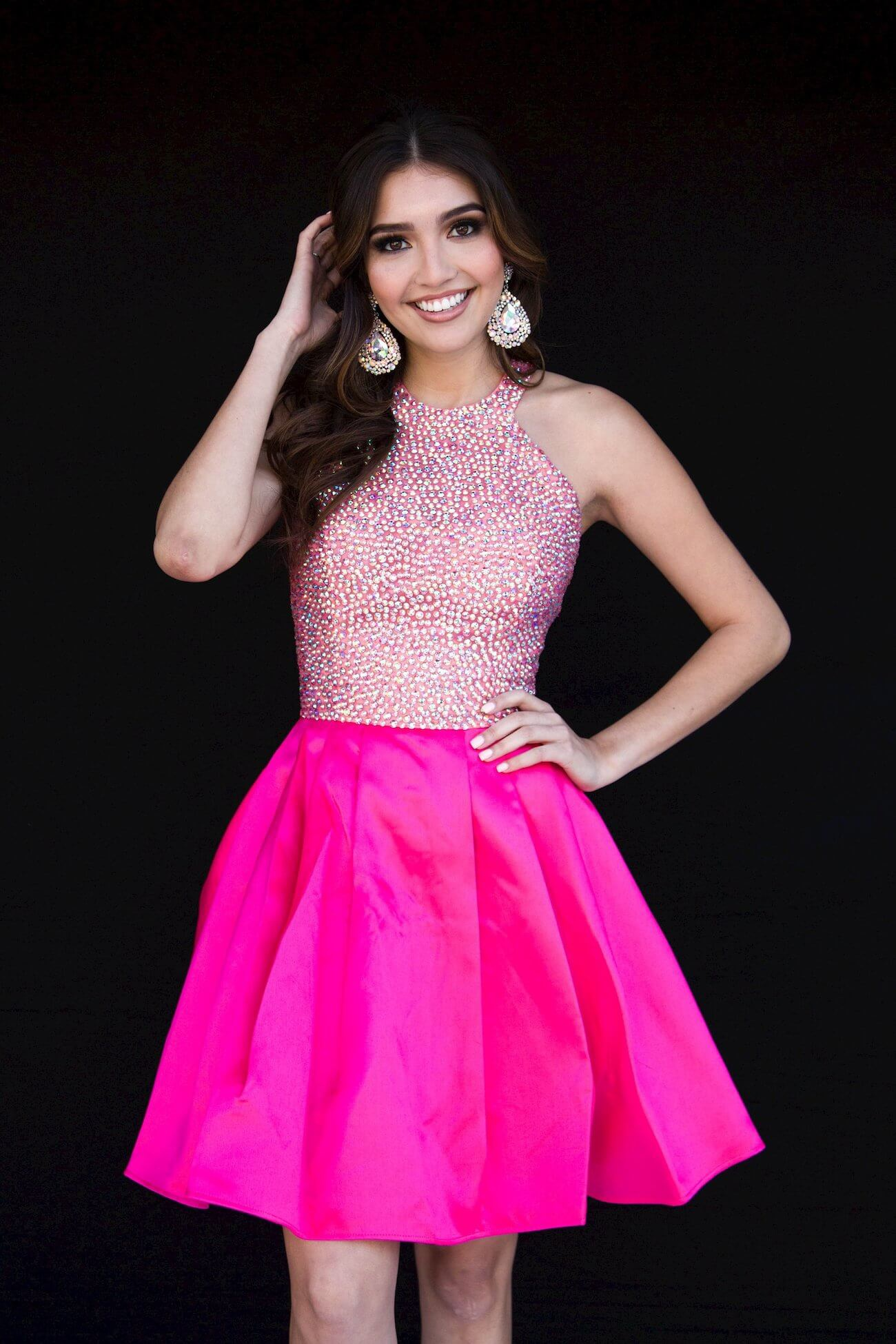Style 6094 Vienna Pink Size 16 Halter Tall Height Cocktail Dress on Queenly