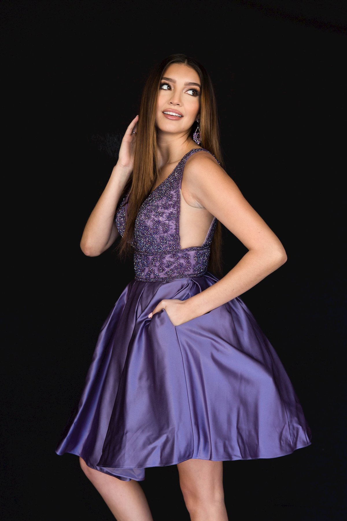 Style 6097 Vienna Purple Size 14 Interview Plunge Plus Size Cocktail Dress on Queenly