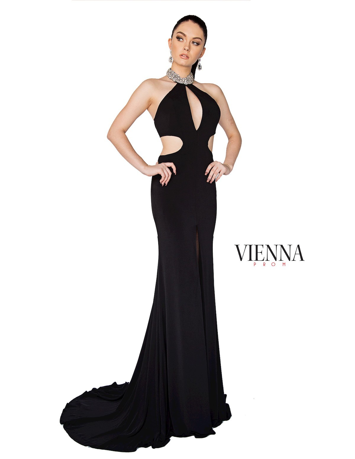 Style 8402 Vienna Black Size 00 Halter Train Tall Height Side slit Dress on Queenly