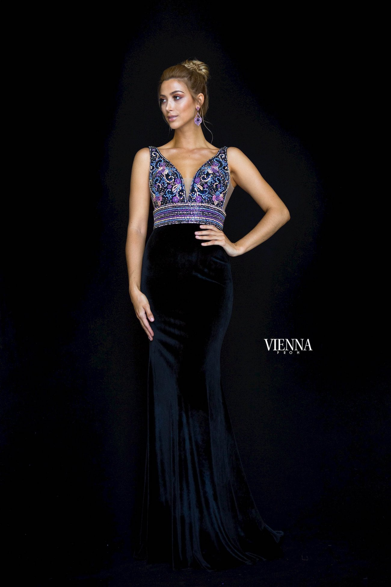 Style 8448 Vienna Black Size 00 Pageant Backless Tall Height Train Dress on Queenly
