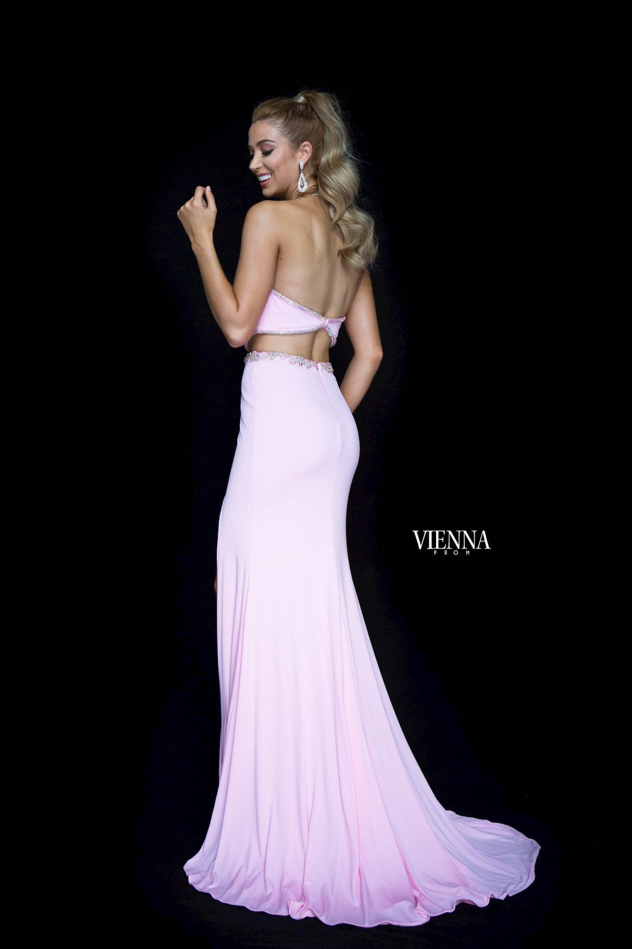Style 8453 Vienna Pink Size 6 Pageant Backless Tall Height Side slit Dress on Queenly