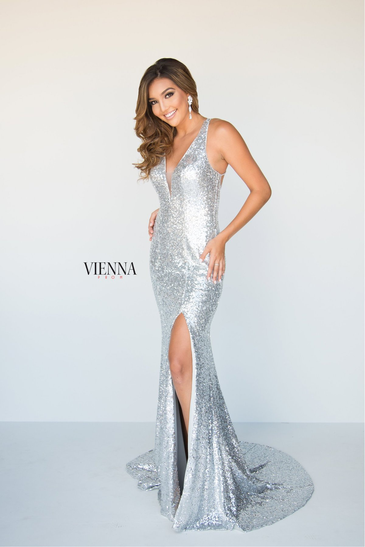 Style 8808 Vienna Silver Size 10 Pageant Backless Tall Height Side slit Dress on Queenly
