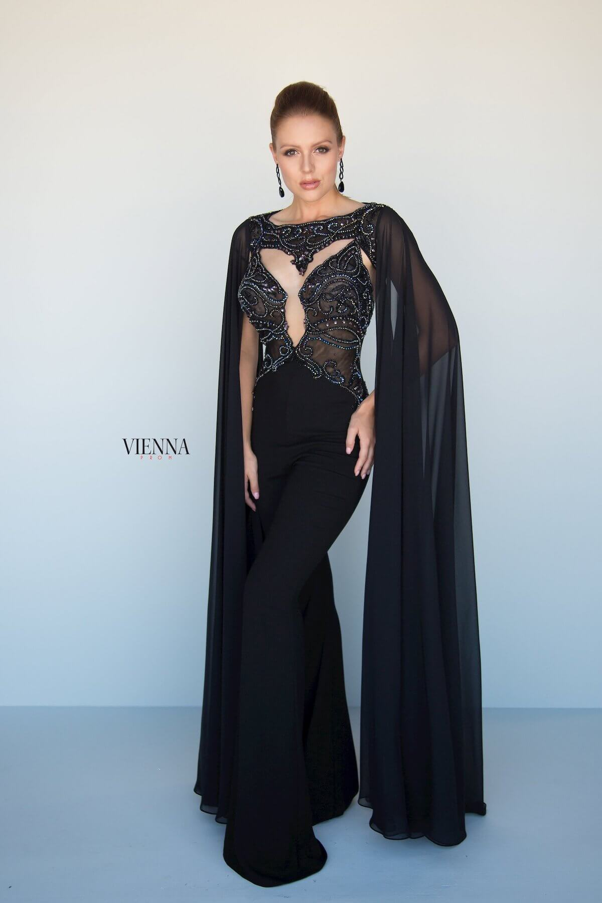 Style 9964 Vienna Black Size 00 Sleeves Pageant Tall Height Romper/Jumpsuit Dress on Queenly