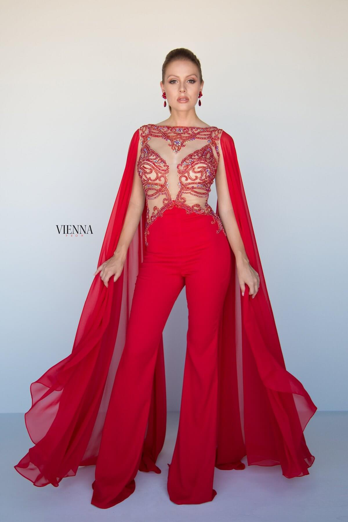 Style 9964 Vienna Red Size 2 Prom Pattern Tall Height Romper/Jumpsuit Dress on Queenly