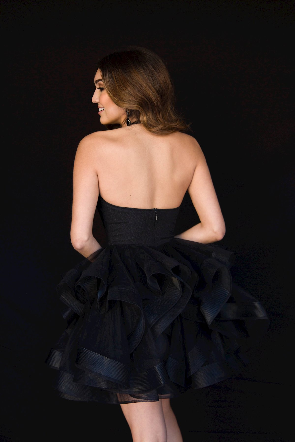 Style 6119 Vienna Black Size 8 Backless Tall Height Cocktail Dress on Queenly