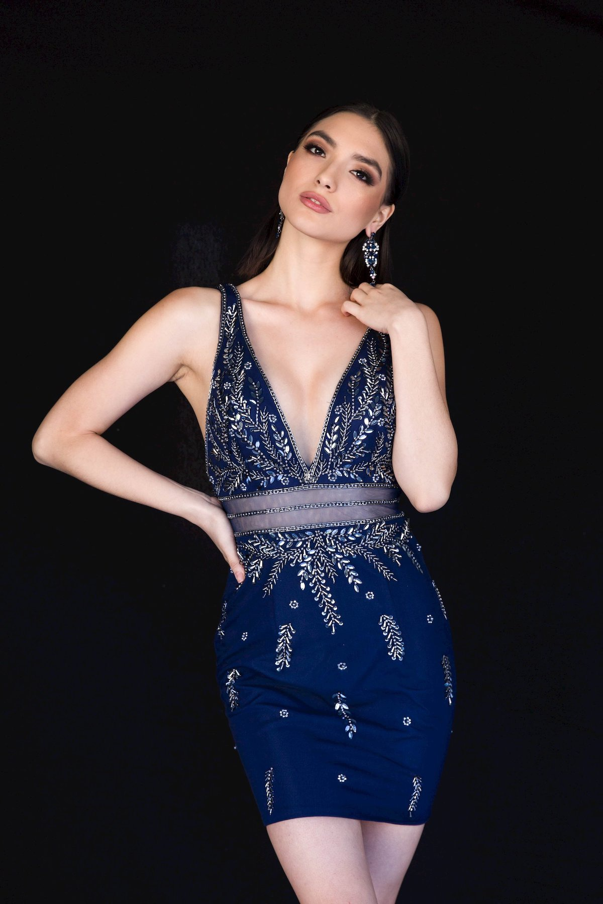 Style 6131 Vienna Blue Size 2 Mini Plunge Cocktail Dress on Queenly