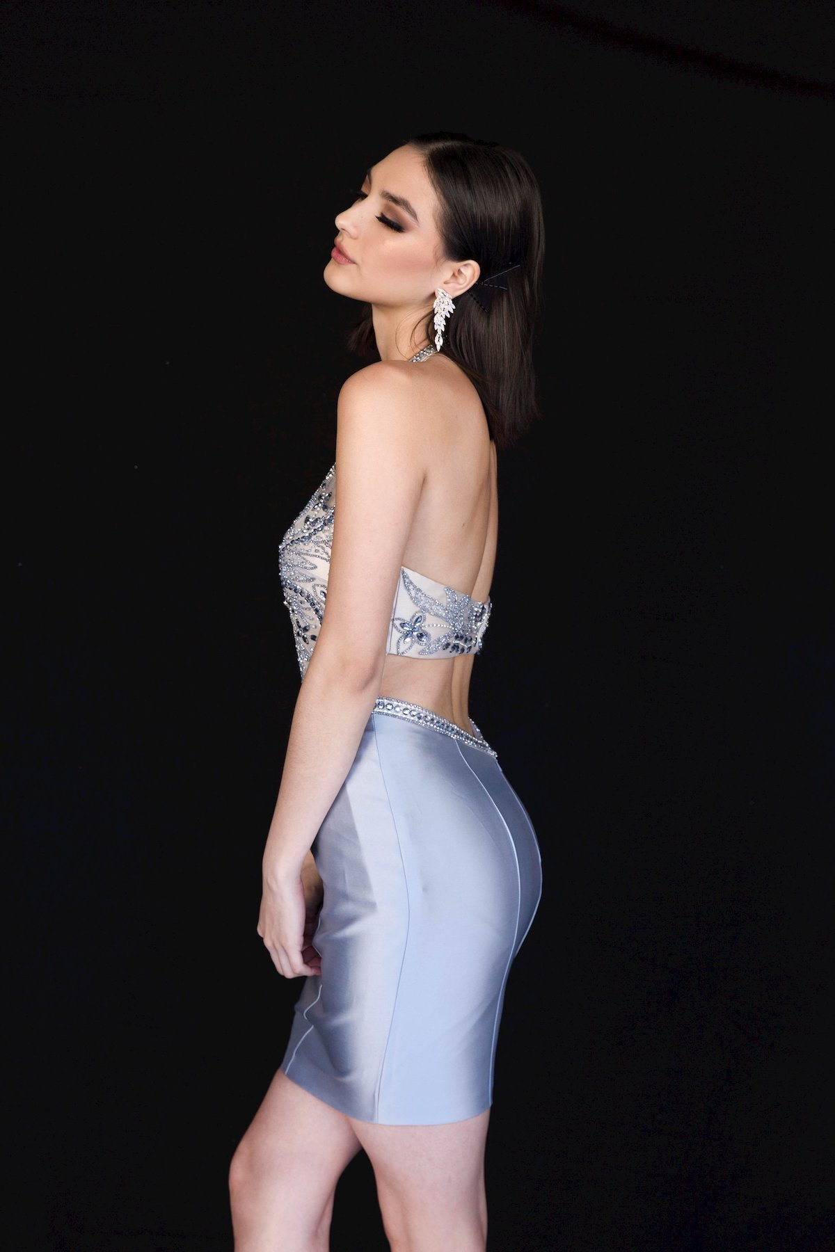 Style 6136 Vienna Silver Size 10 Backless Mini Tall Height Cocktail Dress on Queenly