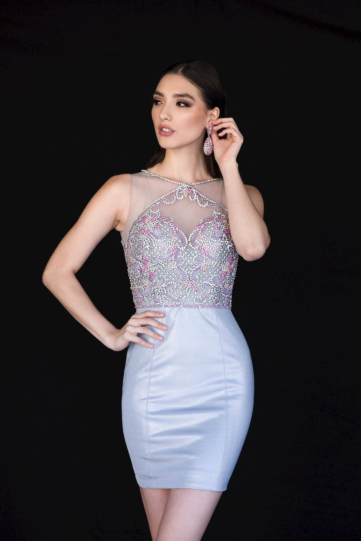 Style 6147 Vienna Silver Size 10 Mini Tall Height Sheer Cocktail Dress on Queenly