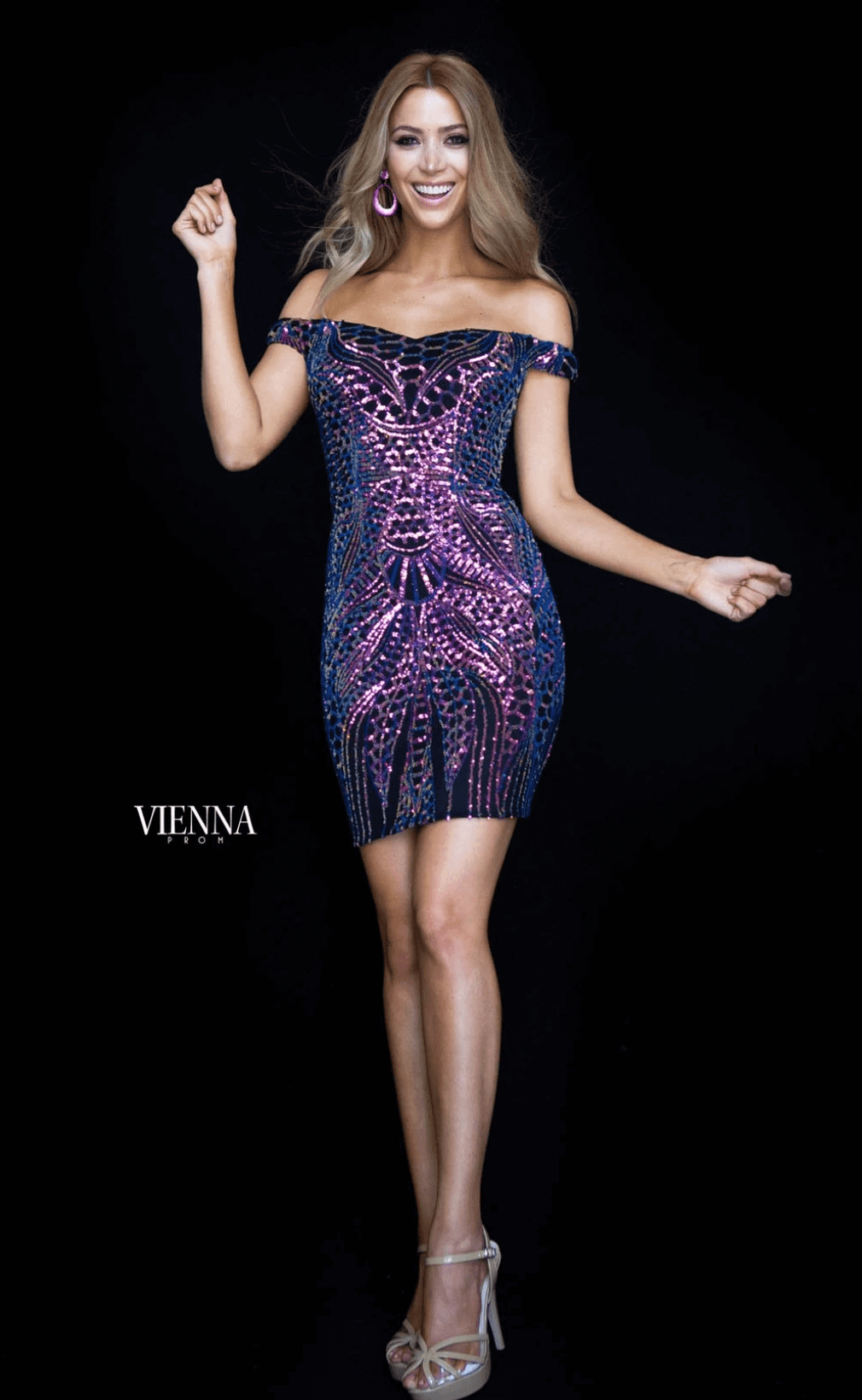 Style 6155 Vienna Purple Size 6 Prom Multicolor Pattern Cocktail Dress on Queenly