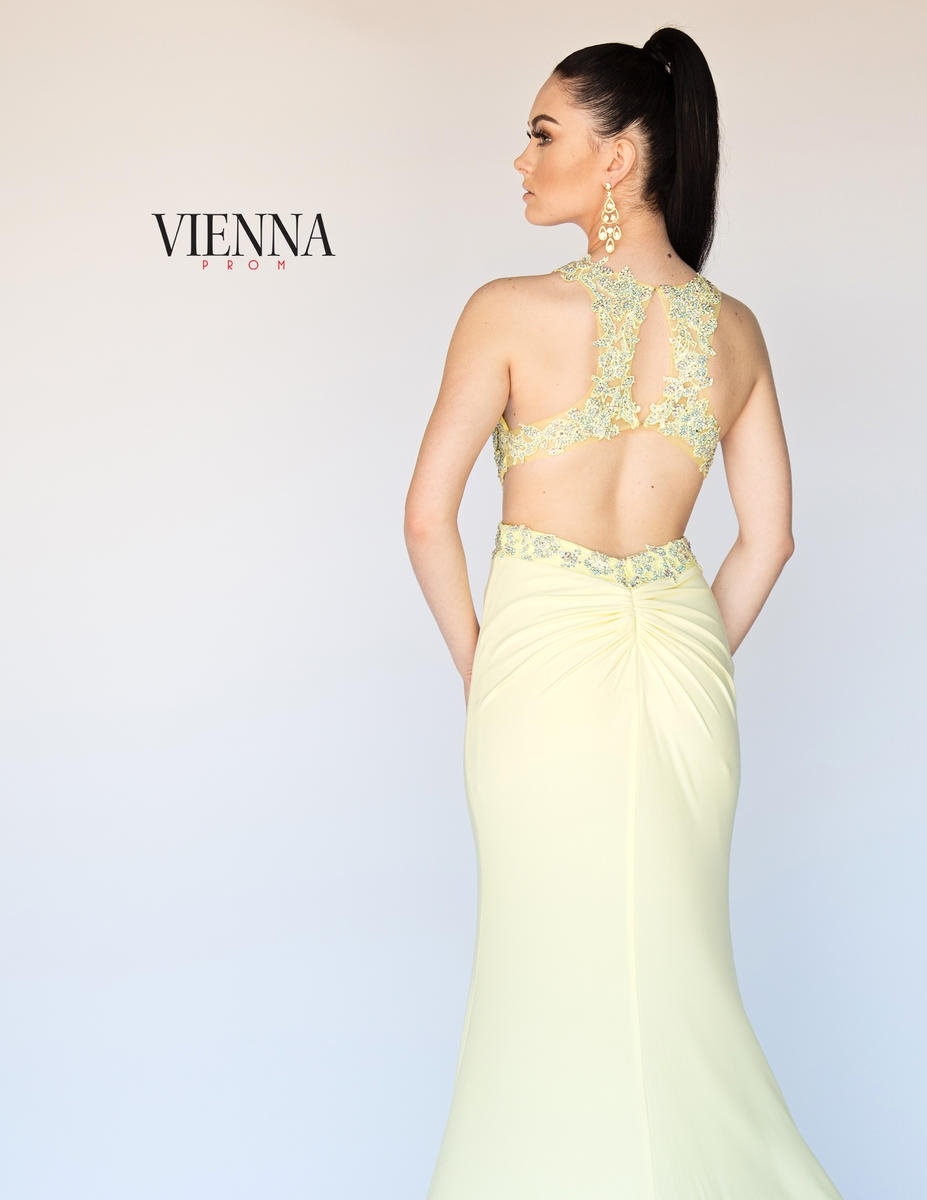 Style 8406 Vienna Yellow Size 4 Backless Tall Height Train Dress on Queenly