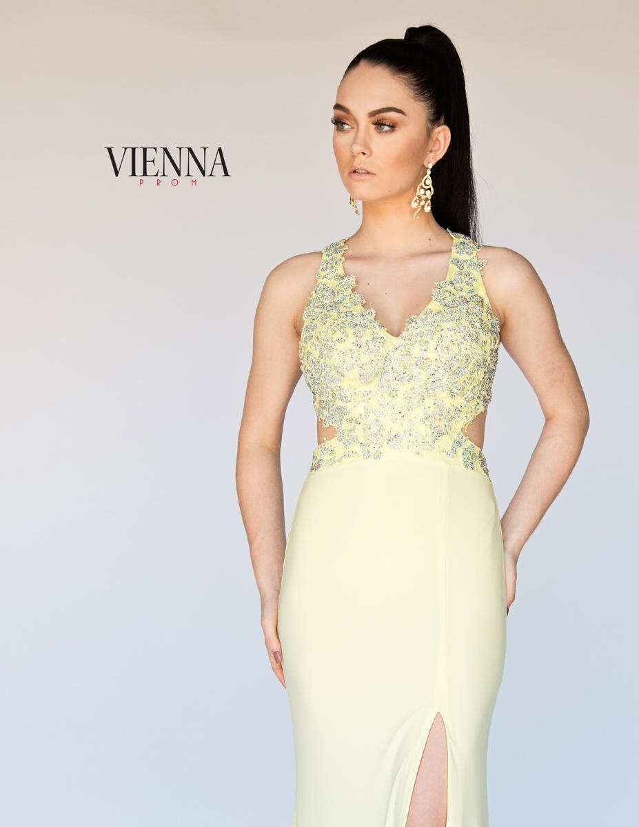 Style 8406 Vienna Yellow Size 10 Jewelled Backless Tall Height Train Dress on Queenly